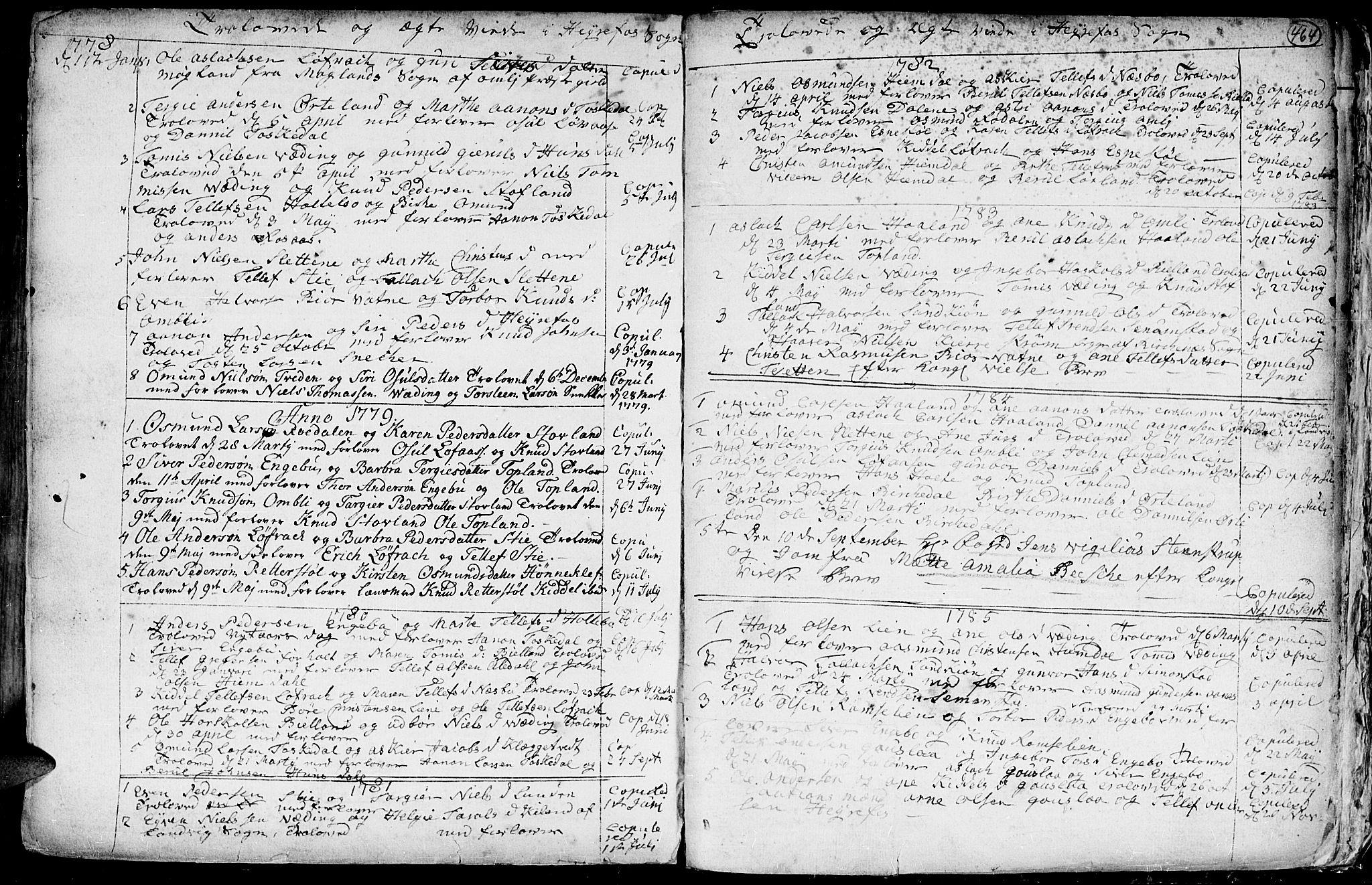SAK, Hommedal sokneprestkontor, F/Fa/Fab/L0002: Ministerialbok nr. A 2 /3, 1740-1821, s. 464