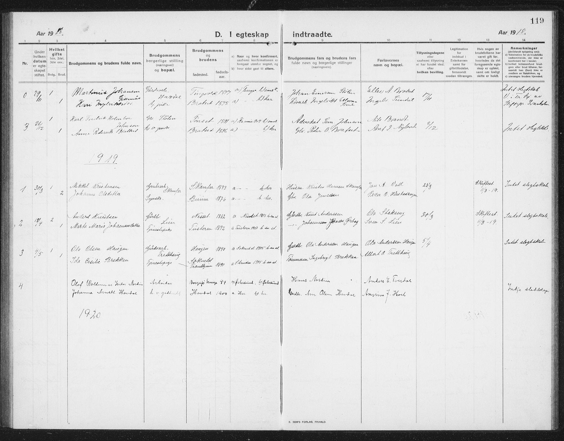 SAT, Ministerialprotokoller, klokkerbøker og fødselsregistre - Sør-Trøndelag, 675/L0888: Klokkerbok nr. 675C01, 1913-1935, s. 119