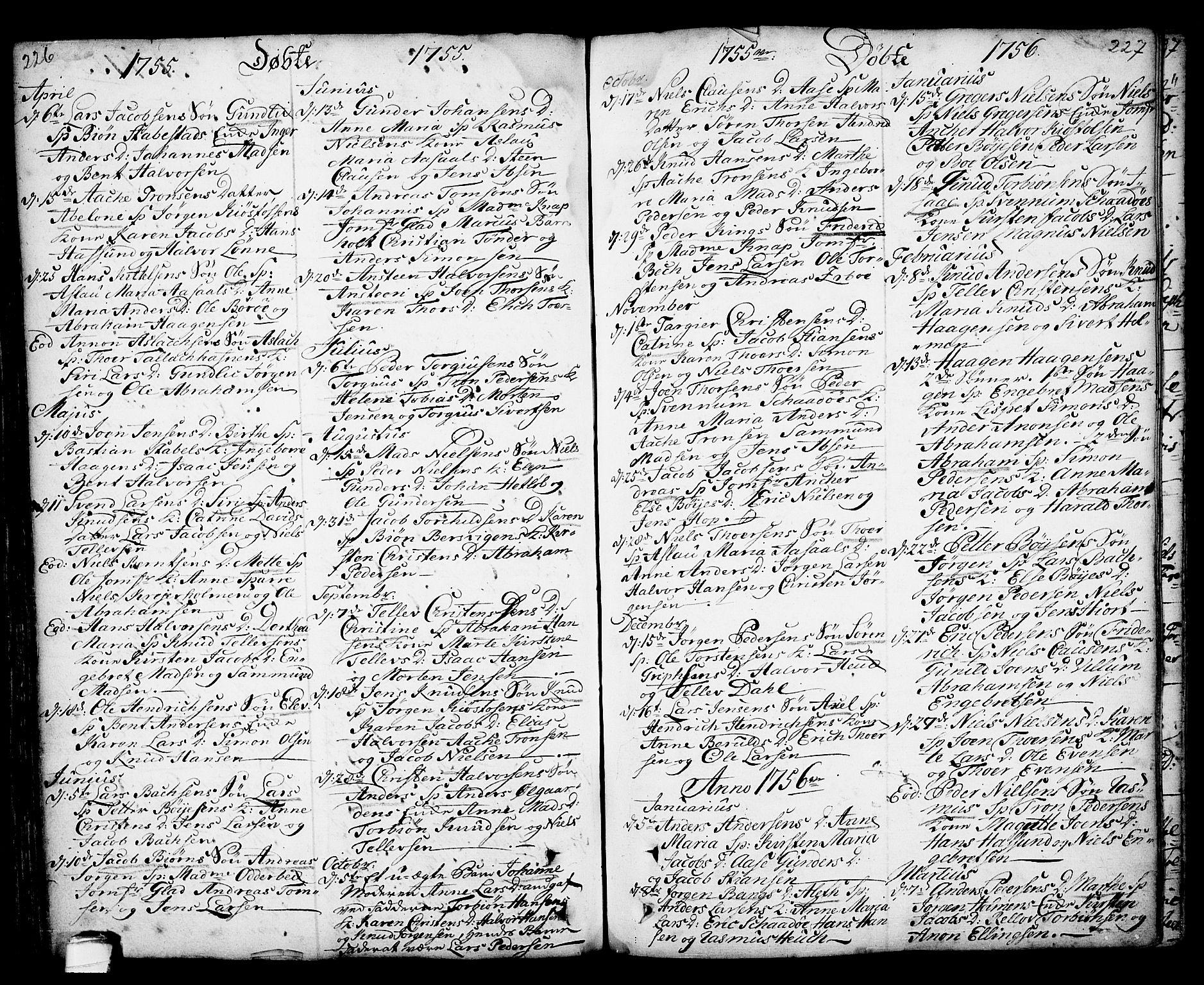 SAKO, Kragerø kirkebøker, F/Fa/L0001: Ministerialbok nr. 1, 1702-1766, s. 226-227