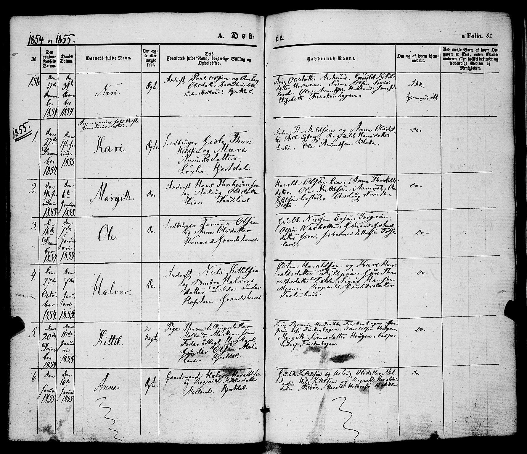 SAKO, Hjartdal kirkebøker, F/Fa/L0008: Ministerialbok nr. I 8, 1844-1859, s. 82