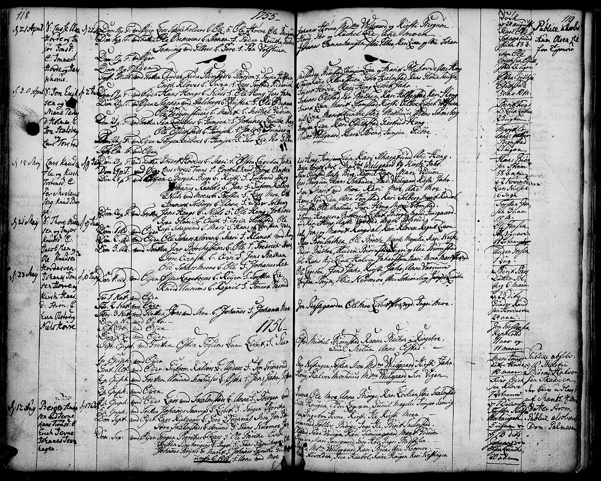 SAH, Øyer prestekontor, Ministerialbok nr. 2, 1733-1784, s. 118-119