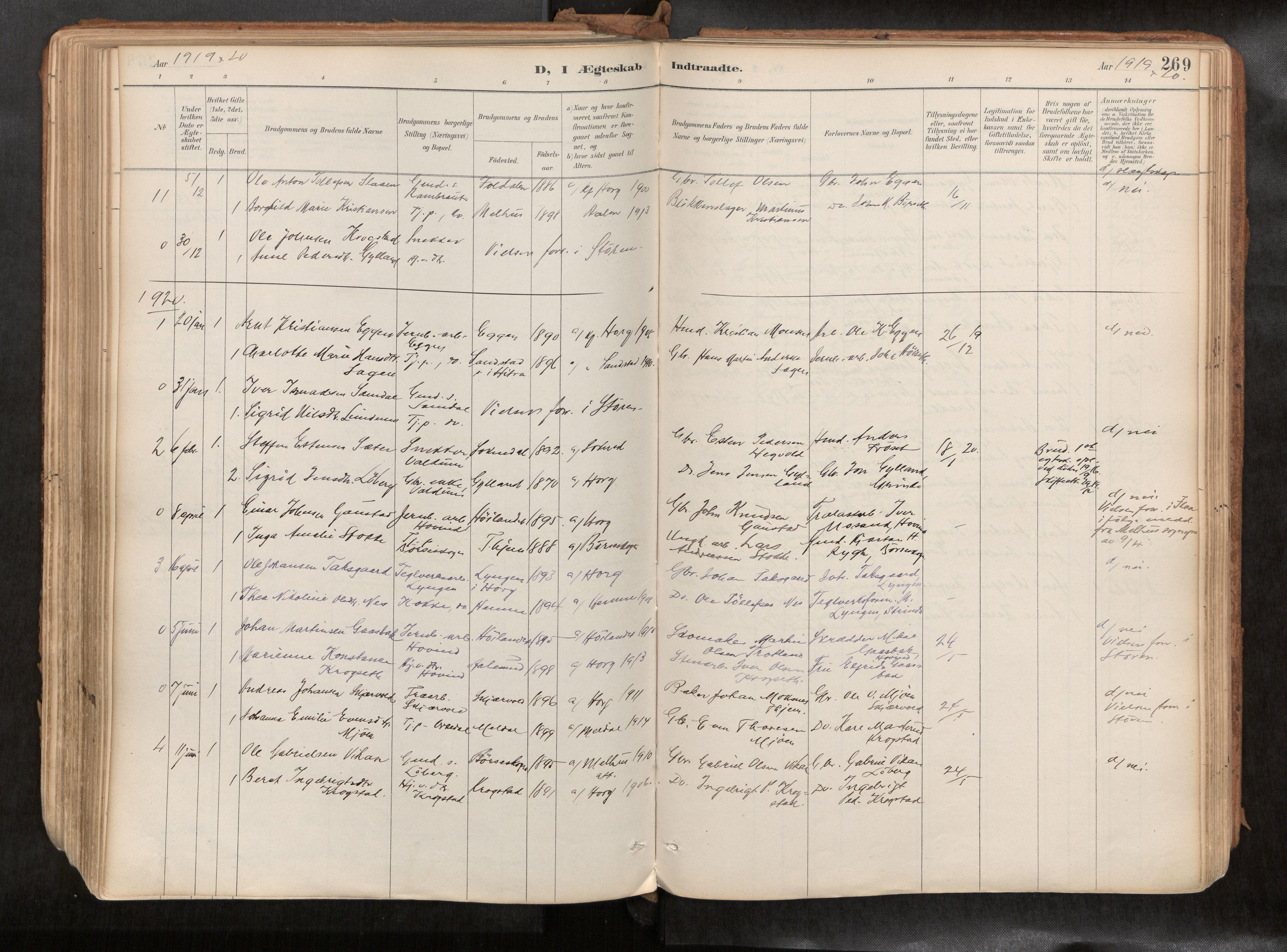 SAT, Ministerialprotokoller, klokkerbøker og fødselsregistre - Sør-Trøndelag, 692/L1105b: Ministerialbok nr. 692A06, 1891-1934, s. 269