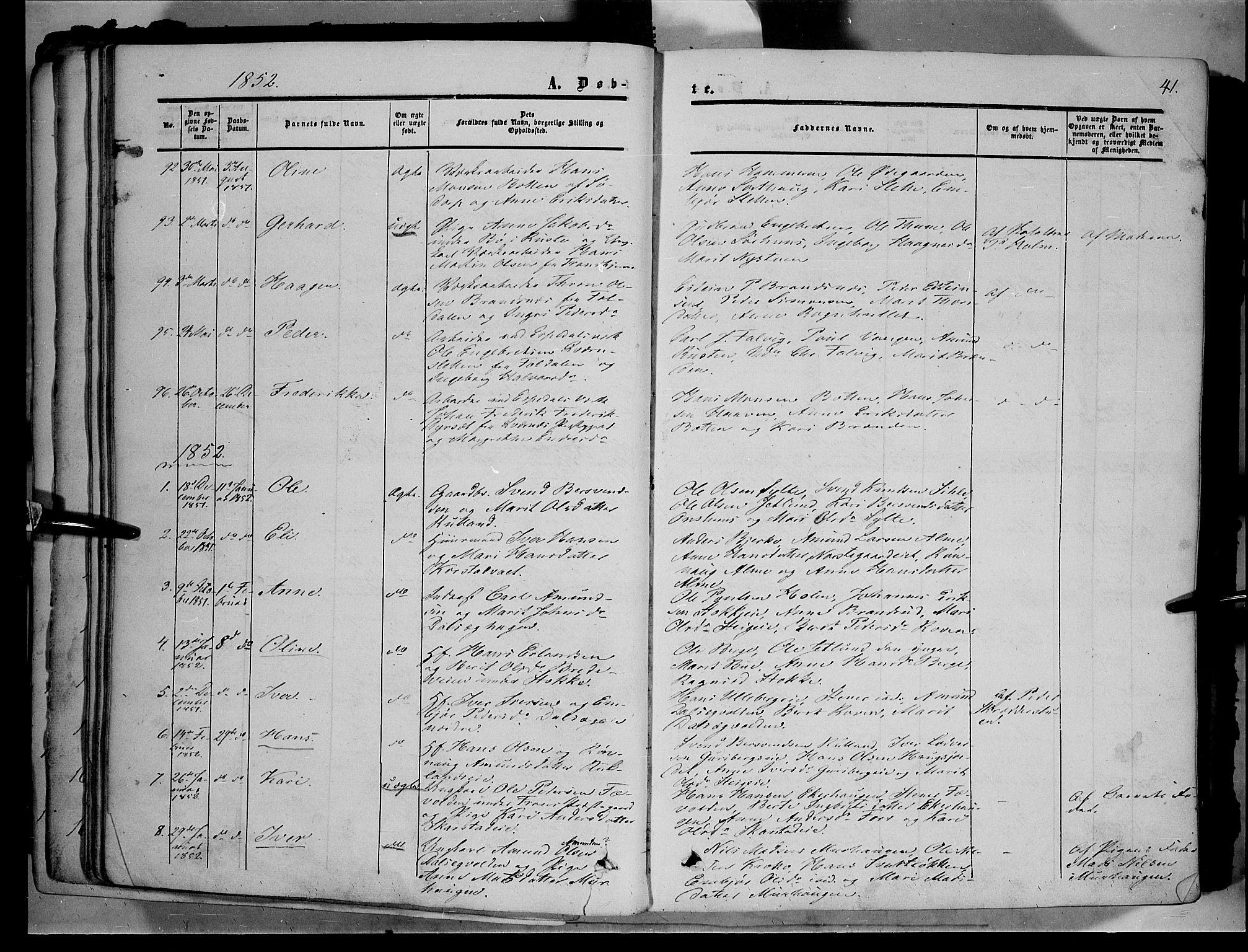SAH, Sør-Fron prestekontor, H/Ha/Haa/L0001: Ministerialbok nr. 1, 1849-1863, s. 41