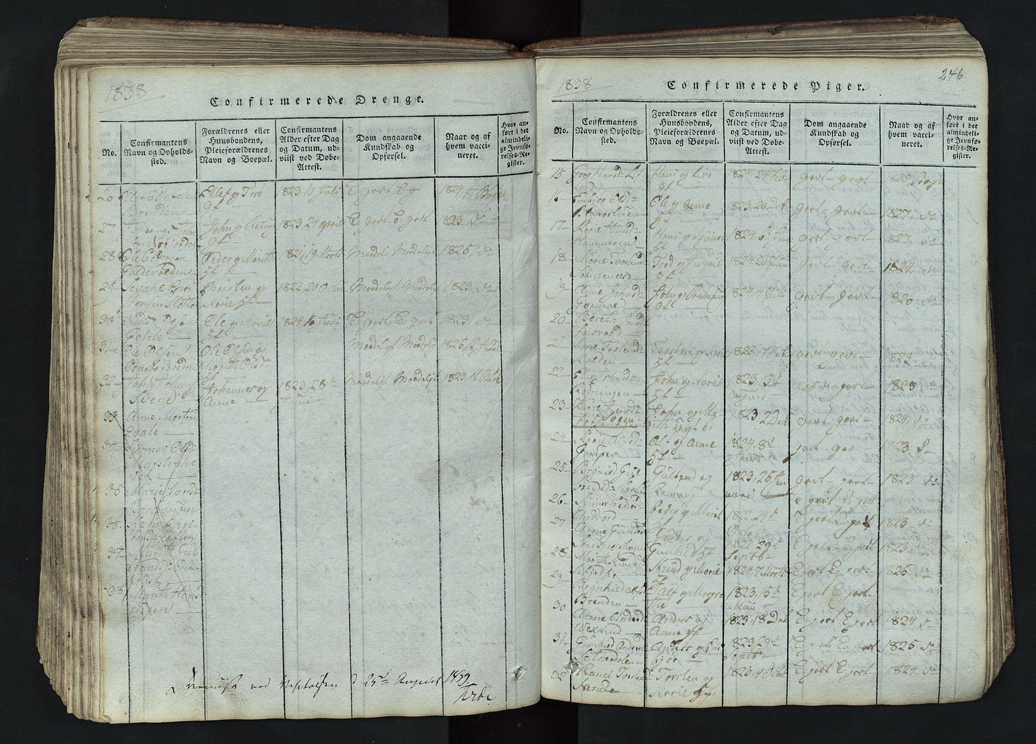 SAH, Lom prestekontor, L/L0002: Klokkerbok nr. 2, 1815-1844, s. 246