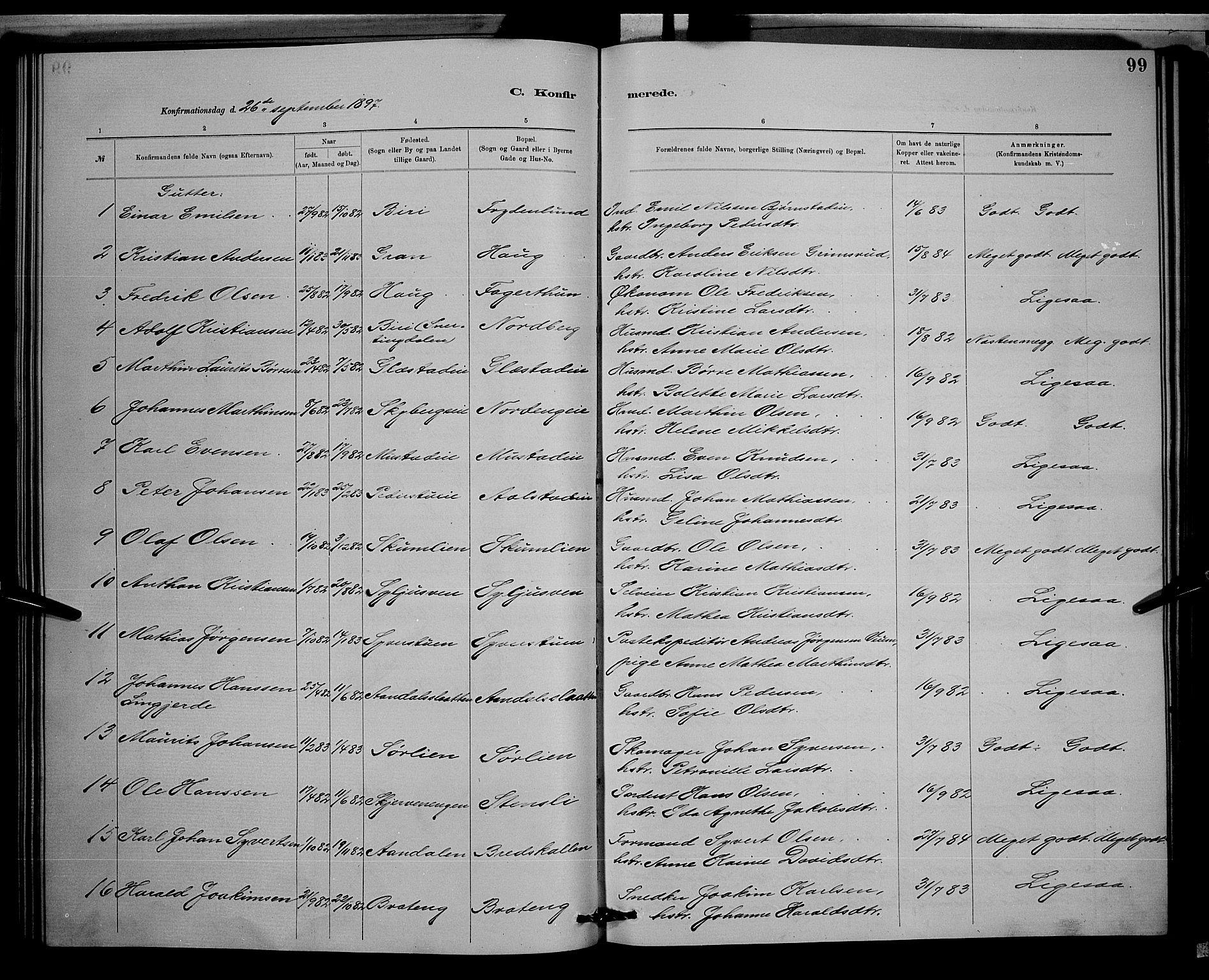 SAH, Vardal prestekontor, H/Ha/Hab/L0008: Klokkerbok nr. 8, 1881-1898, s. 99