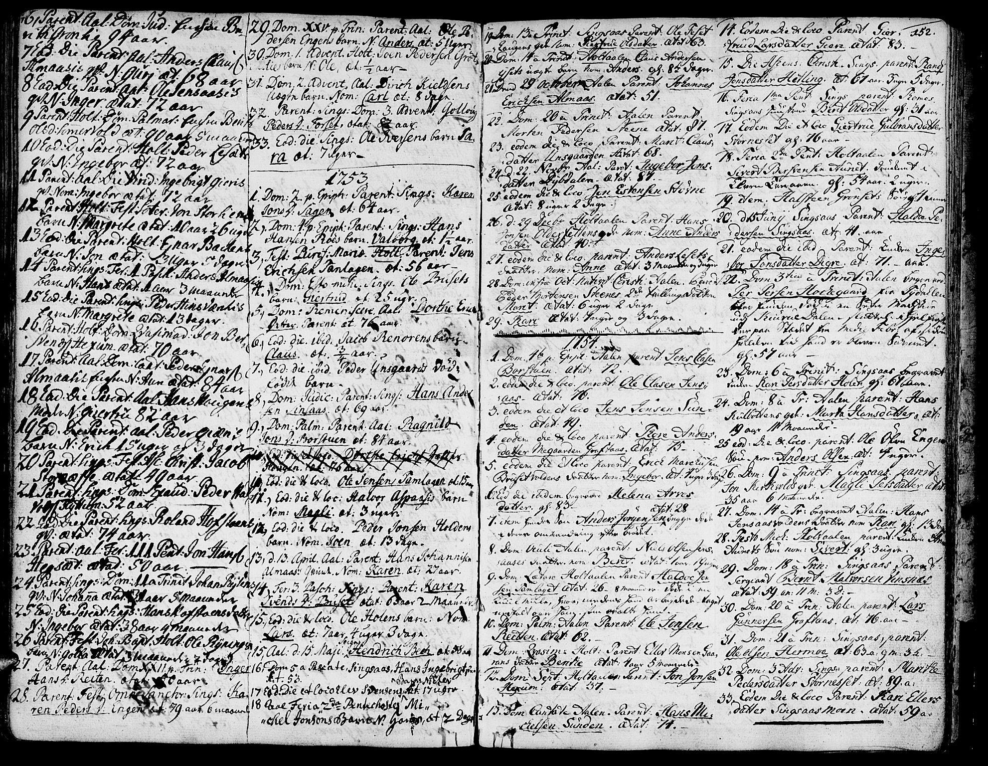 SAT, Ministerialprotokoller, klokkerbøker og fødselsregistre - Sør-Trøndelag, 685/L0952: Ministerialbok nr. 685A01, 1745-1804, s. 152