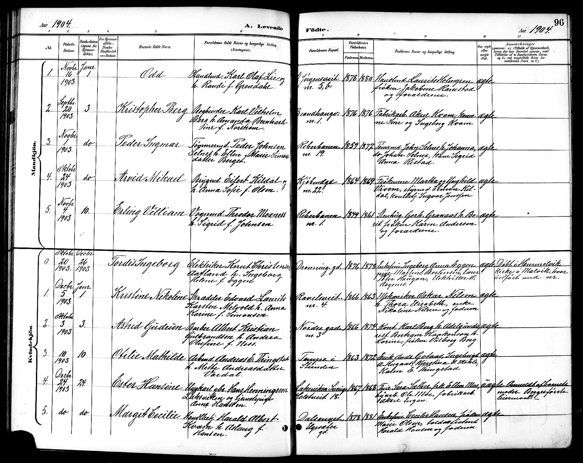 SAT, Ministerialprotokoller, klokkerbøker og fødselsregistre - Sør-Trøndelag, 601/L0094: Klokkerbok nr. 601C12, 1898-1911, s. 96