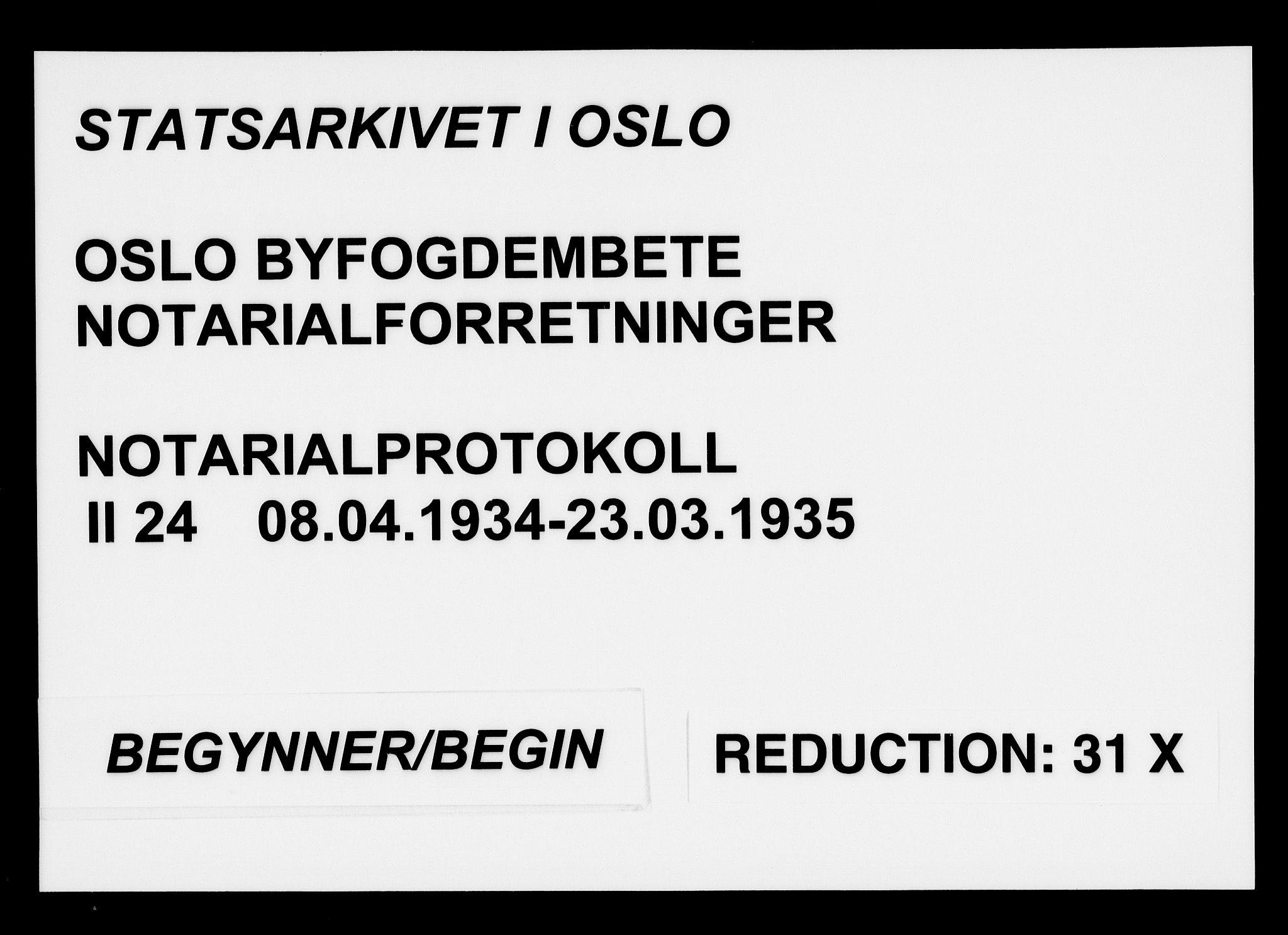 SAO, Oslo byfogd avd. I, L/Lb/Lbb/L0024: Notarialprotokoll, rekke II: Vigsler, 1934-1935, s. upaginert