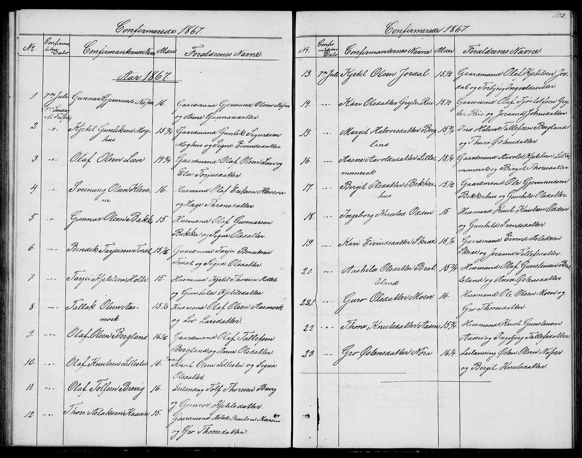 SAKO, Fyresdal kirkebøker, G/Ga/L0004: Klokkerbok nr. I 4, 1864-1892, s. 102
