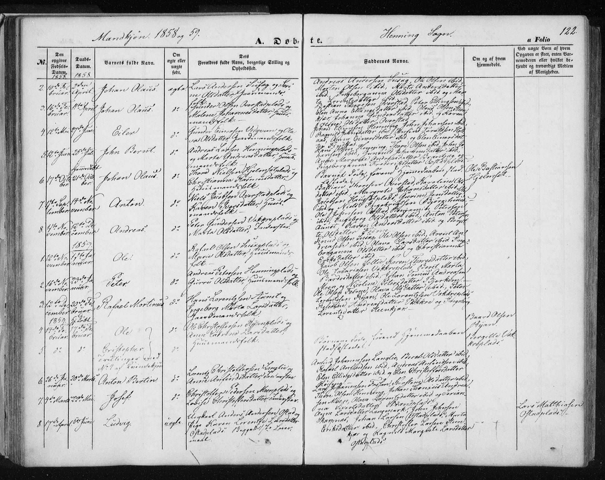 SAT, Ministerialprotokoller, klokkerbøker og fødselsregistre - Nord-Trøndelag, 735/L0342: Ministerialbok nr. 735A07 /3, 1849-1862, s. 122