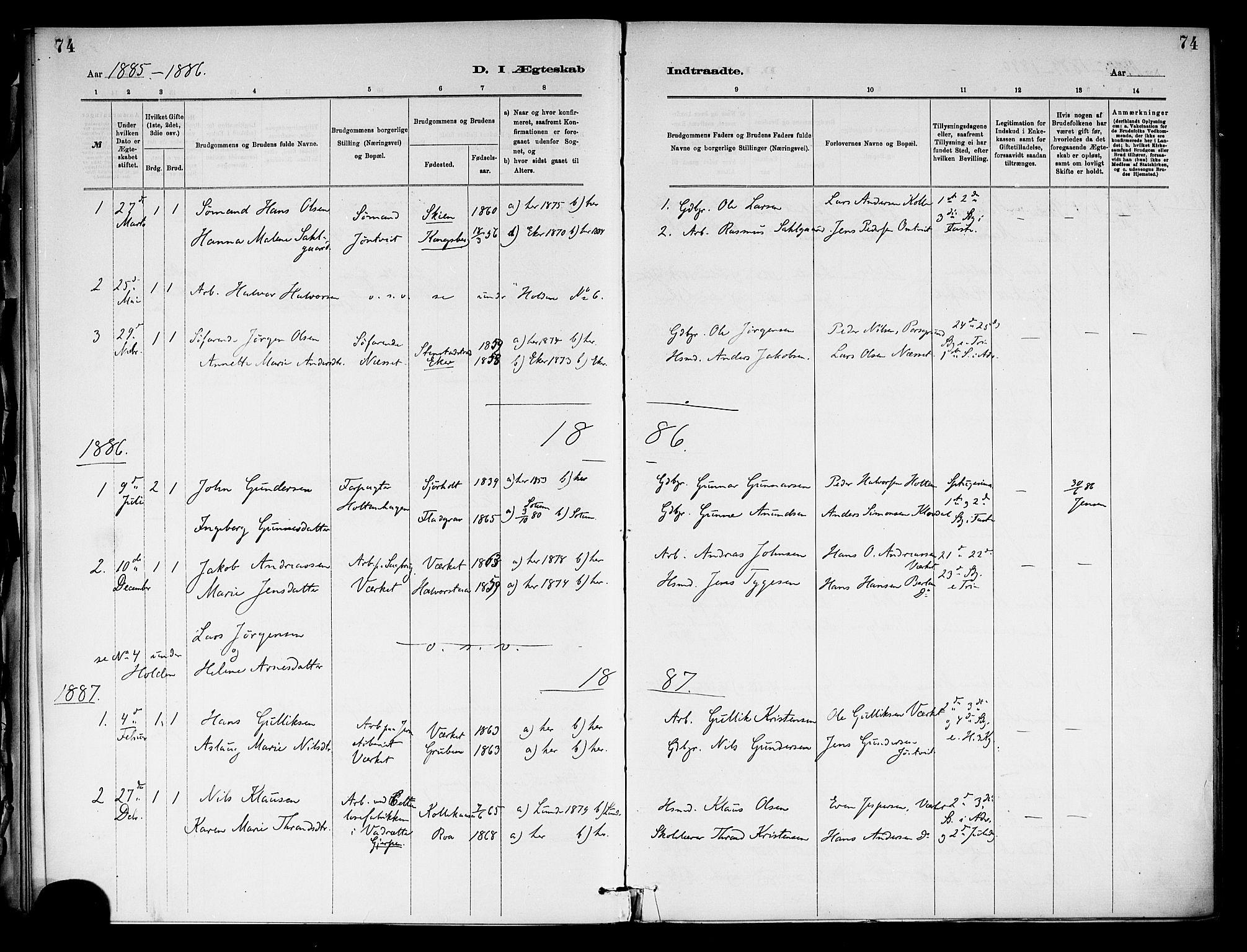 SAKO, Holla kirkebøker, F/Fa/L0009: Ministerialbok nr. 9, 1881-1897, s. 74