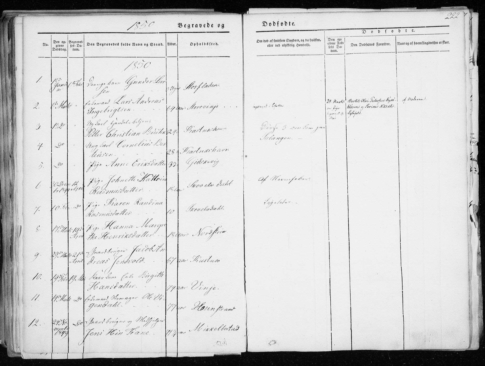 SATØ, Tranøy sokneprestkontor, I/Ia/Iaa/L0006kirke: Ministerialbok nr. 6, 1844-1855, s. 222