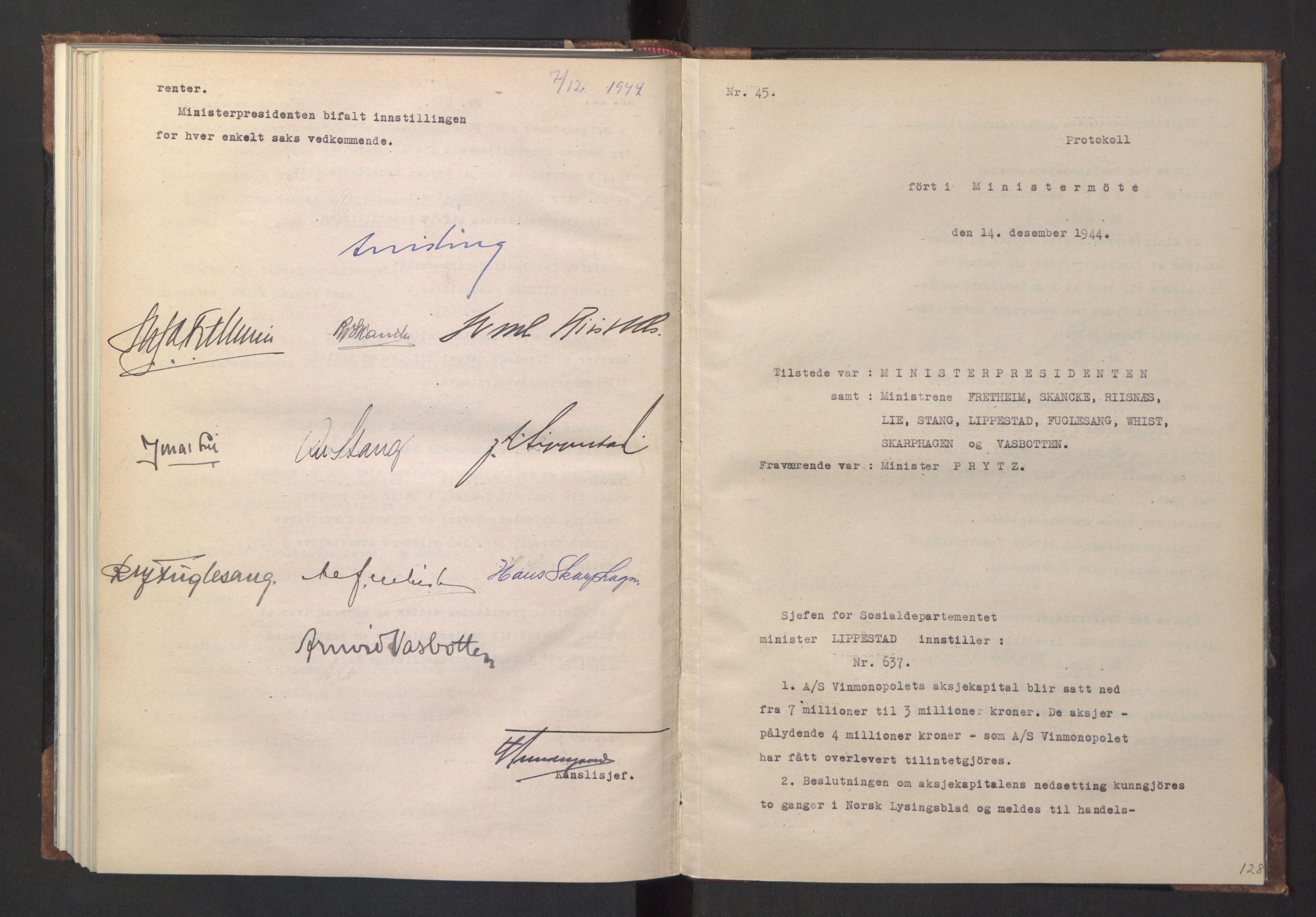 RA, NS-administrasjonen 1940-1945 (Statsrådsekretariatet, de kommisariske statsråder mm), D/Da/L0005: Protokoll fra ministermøter, 1944, s. 127b-128a