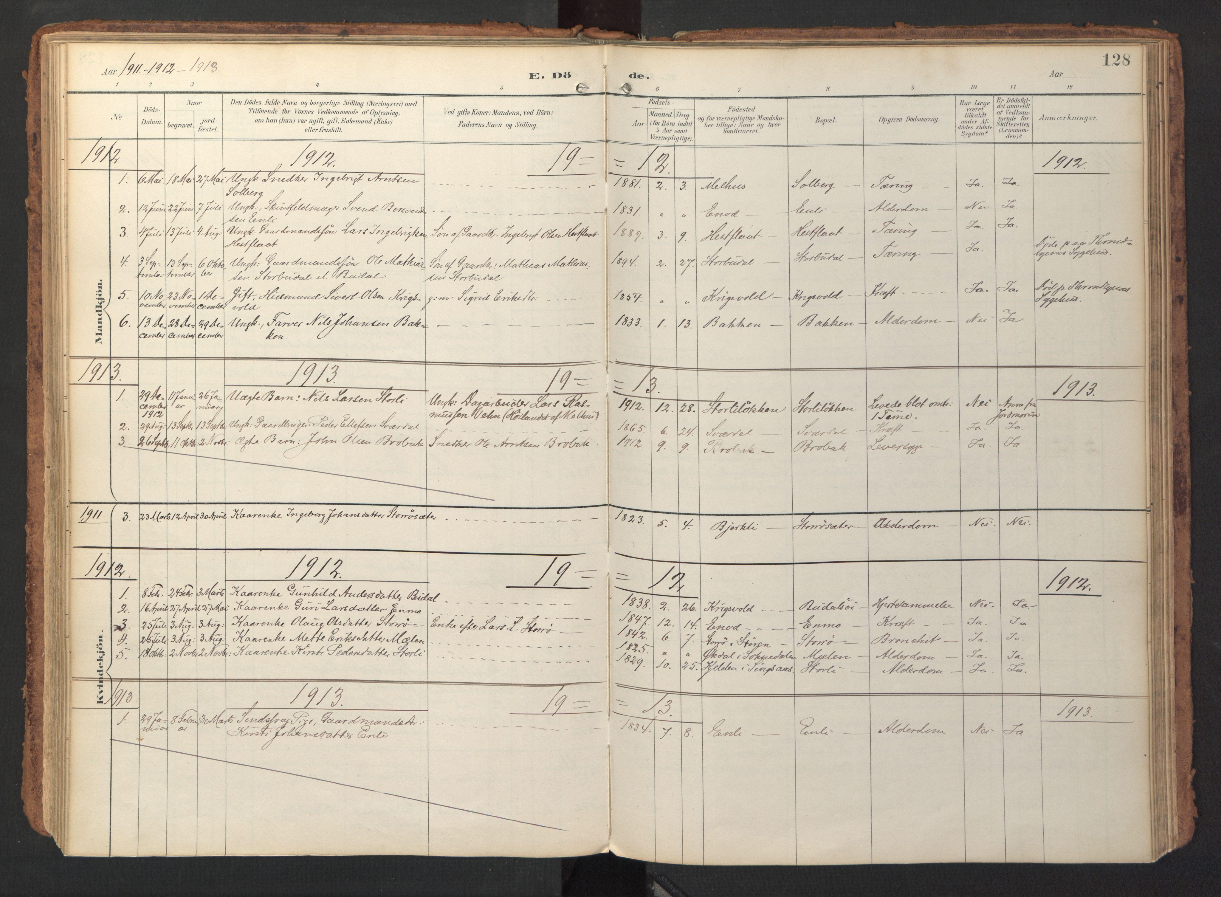 SAT, Ministerialprotokoller, klokkerbøker og fødselsregistre - Sør-Trøndelag, 690/L1050: Ministerialbok nr. 690A01, 1889-1929, s. 128