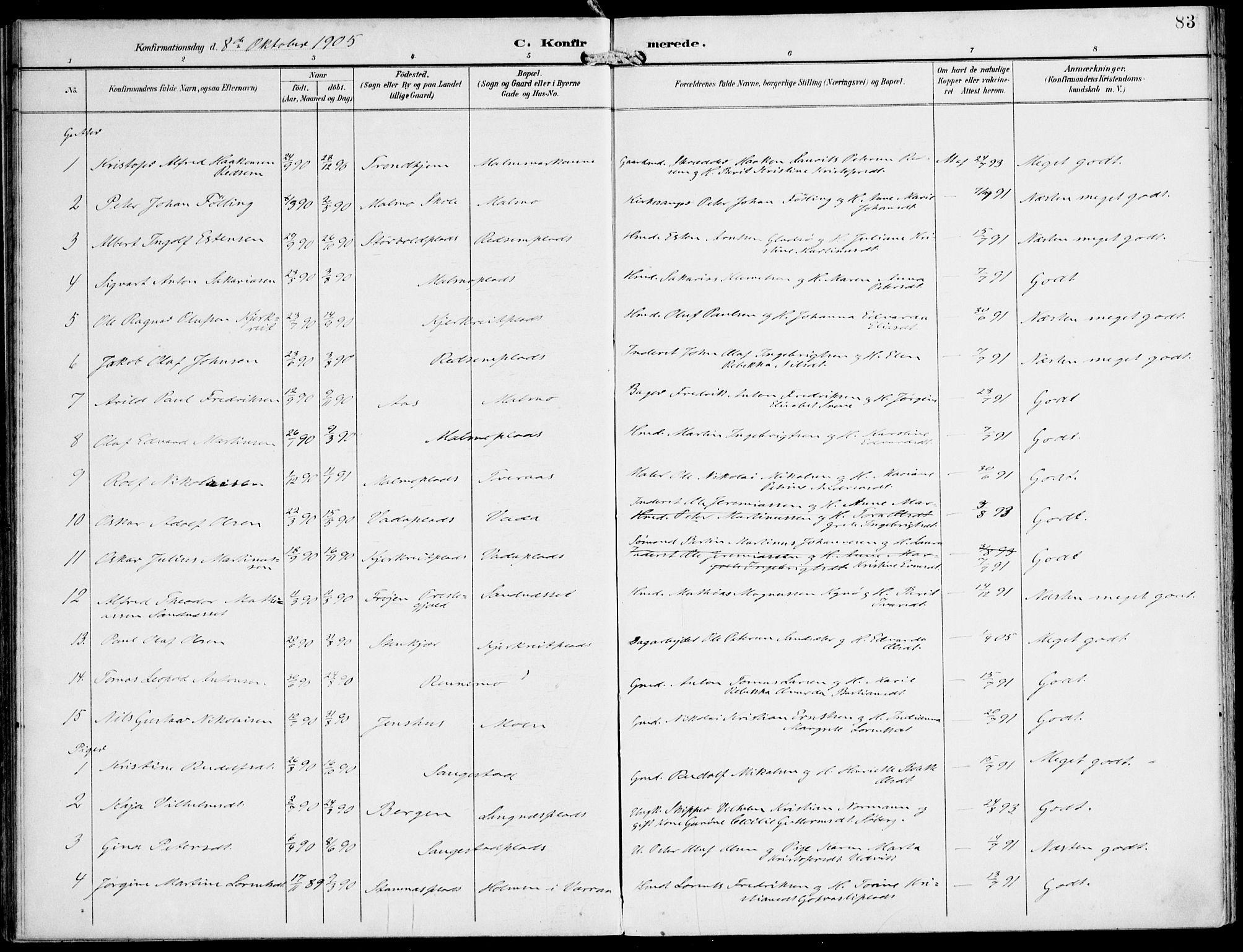SAT, Ministerialprotokoller, klokkerbøker og fødselsregistre - Nord-Trøndelag, 745/L0430: Ministerialbok nr. 745A02, 1895-1913, s. 83