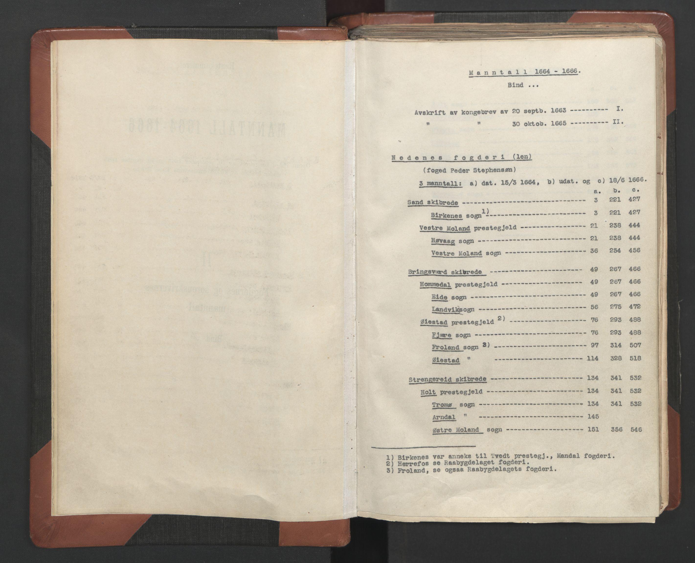 RA, Fogdenes og sorenskrivernes manntall 1664-1666, nr. 7: Nedenes fogderi, 1664-1666, s. upaginert