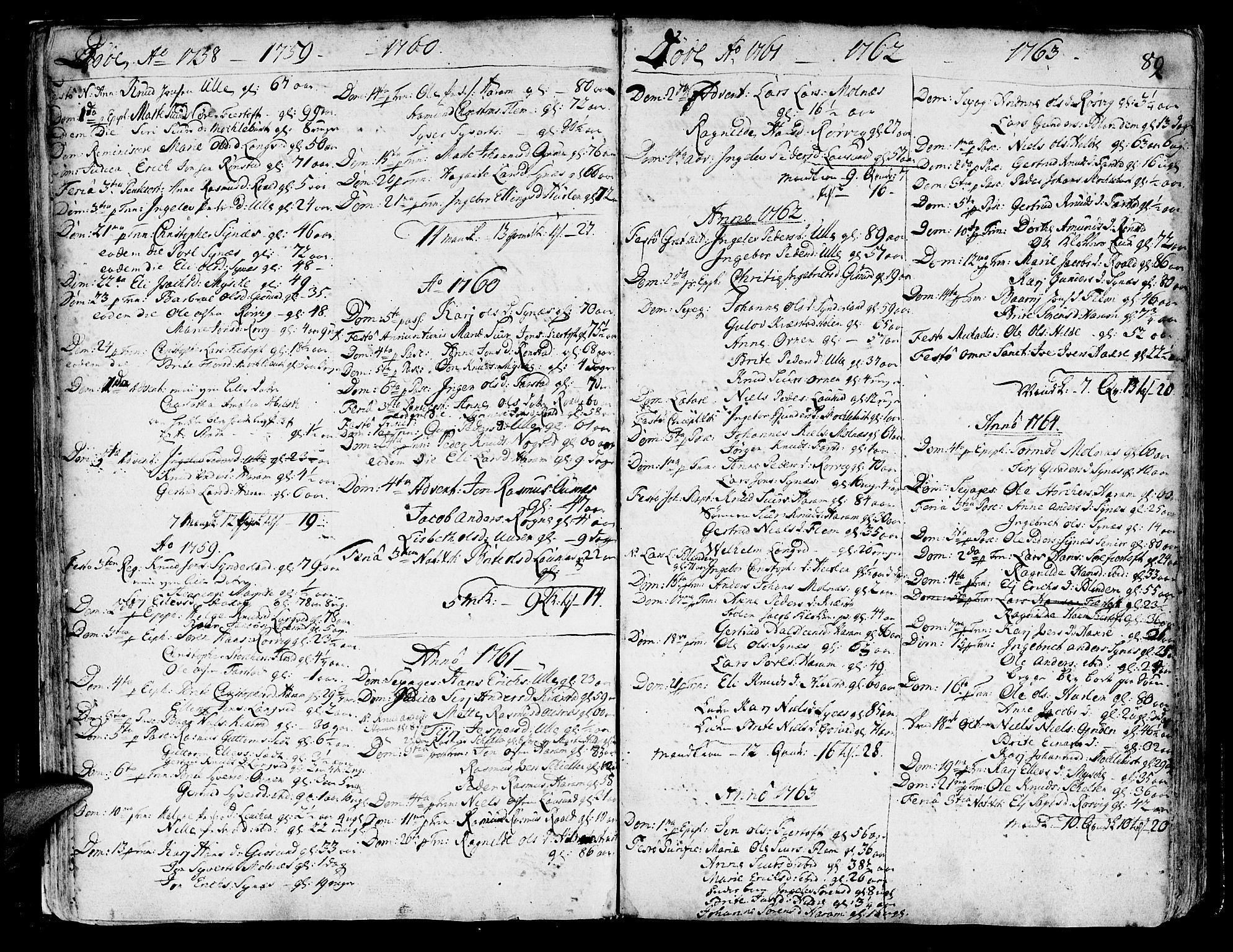 SAT, Ministerialprotokoller, klokkerbøker og fødselsregistre - Møre og Romsdal, 536/L0493: Ministerialbok nr. 536A02, 1739-1802, s. 88-89