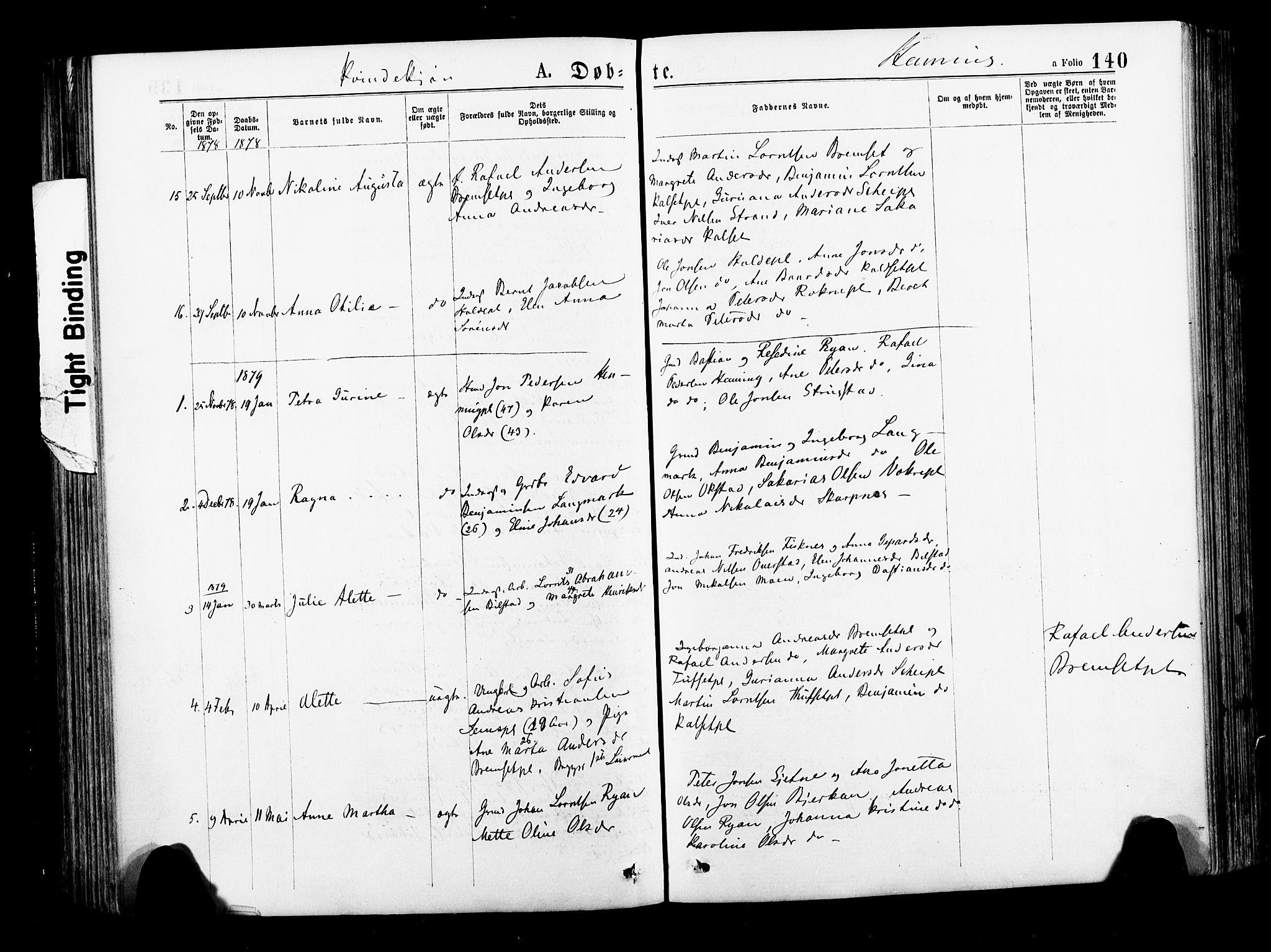 SAT, Ministerialprotokoller, klokkerbøker og fødselsregistre - Nord-Trøndelag, 735/L0348: Ministerialbok nr. 735A09 /3, 1873-1883, s. 140