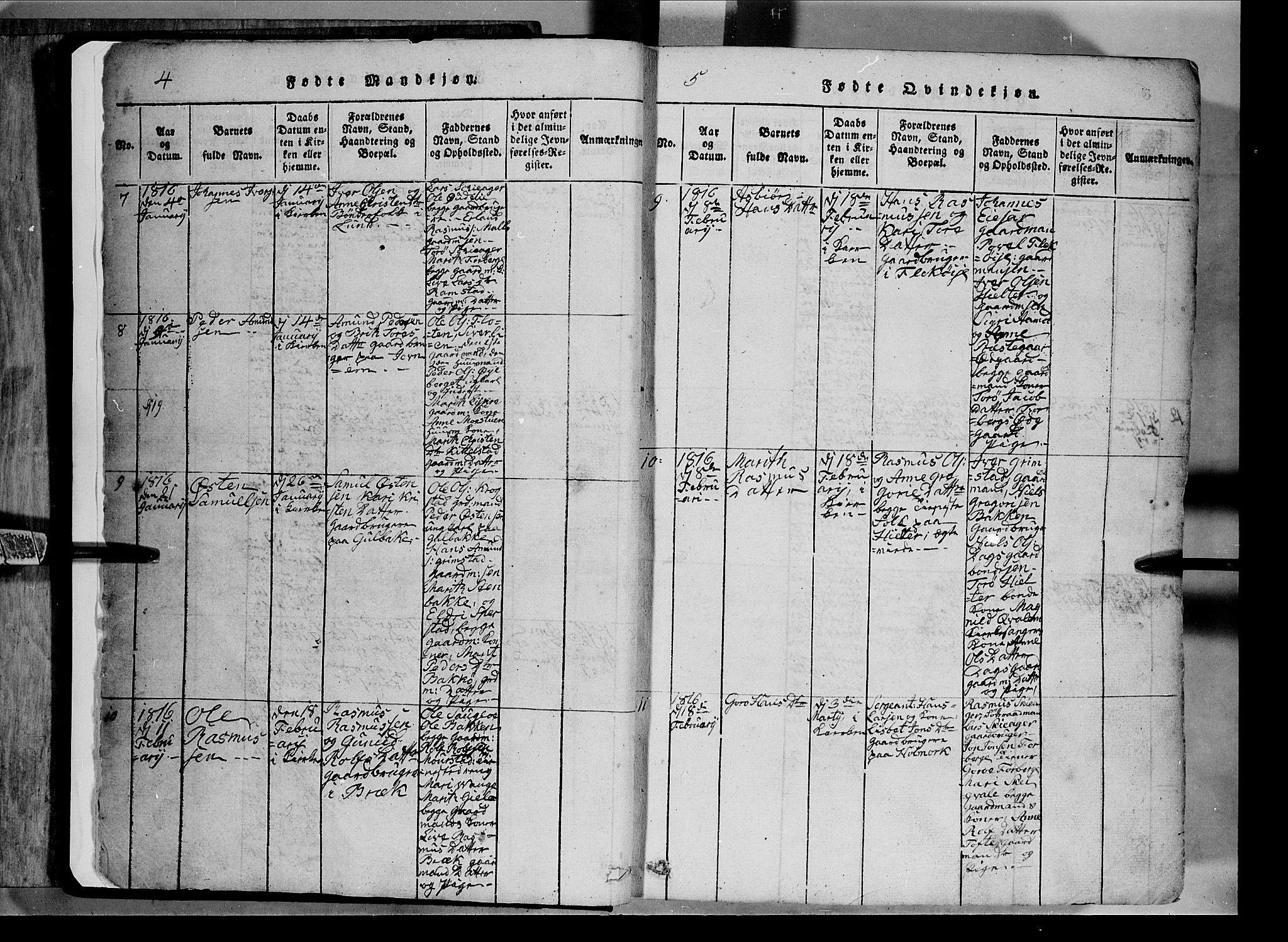 SAH, Lom prestekontor, L/L0003: Klokkerbok nr. 3, 1815-1844, s. 4-5