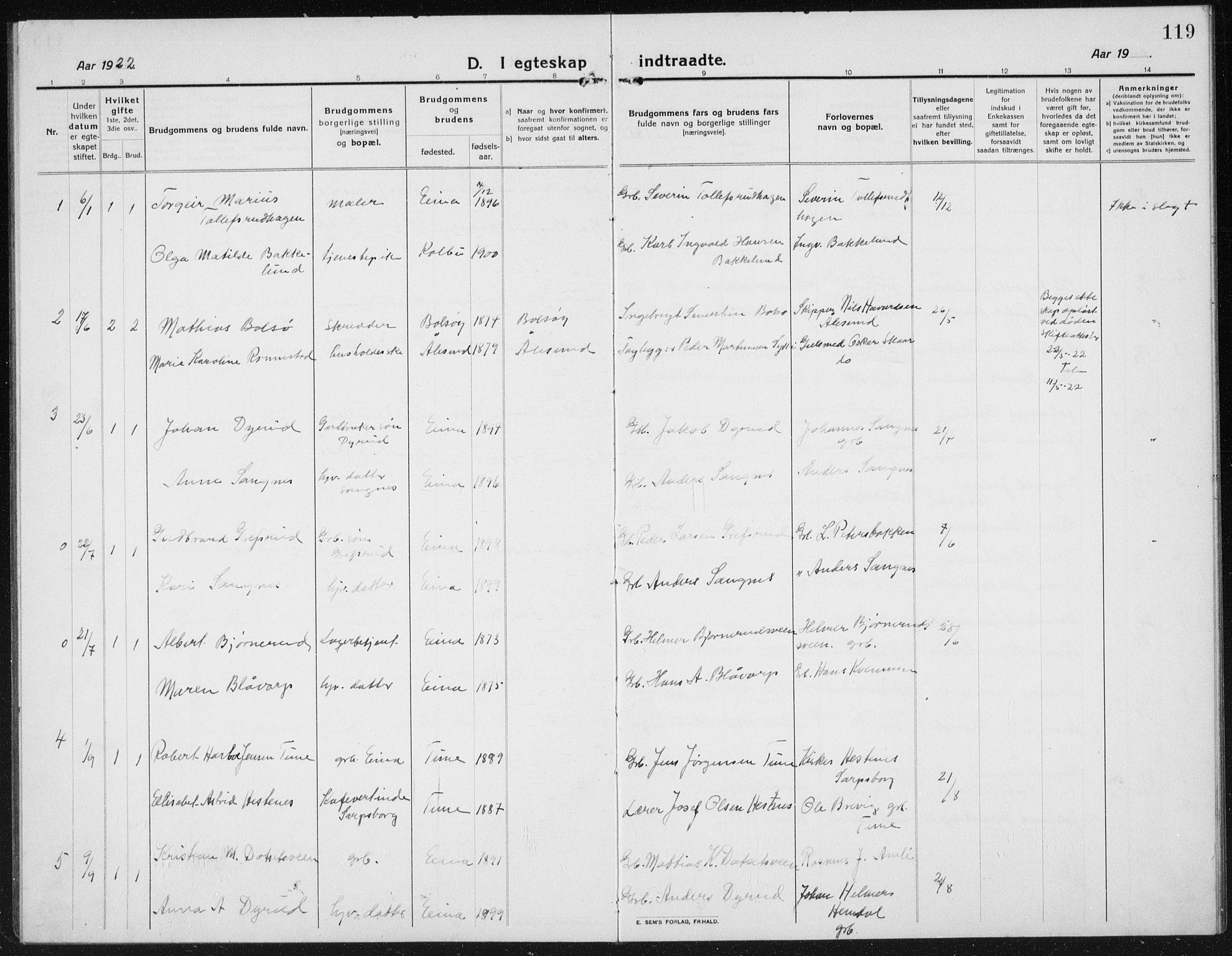 SAH, Kolbu prestekontor, Klokkerbok nr. 6, 1916-1934, s. 119
