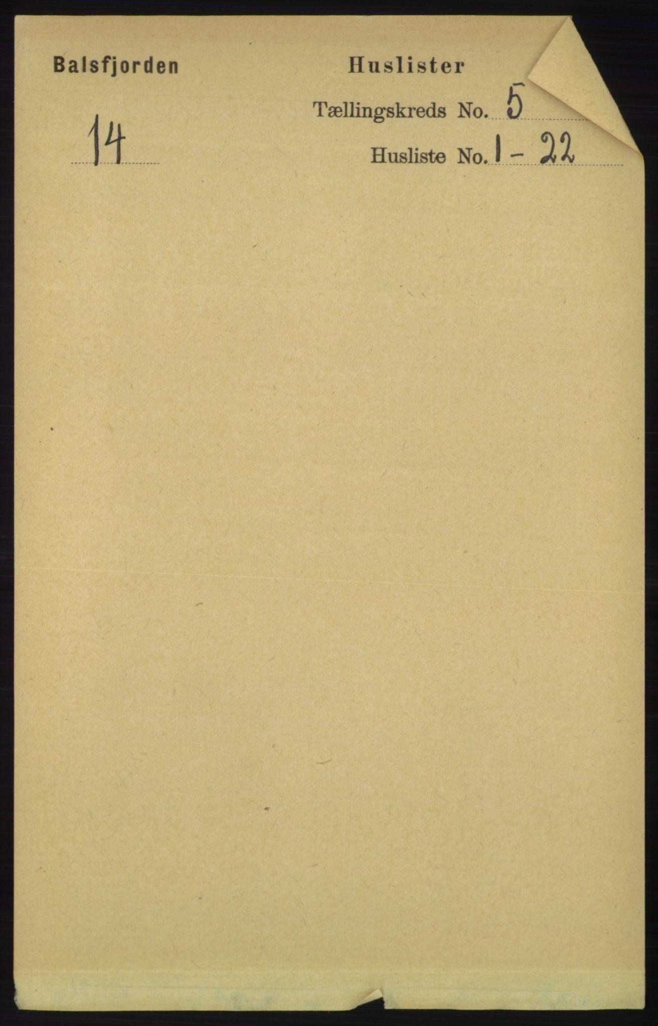 RA, Folketelling 1891 for 1933 Balsfjord herred, 1891, s. 1405