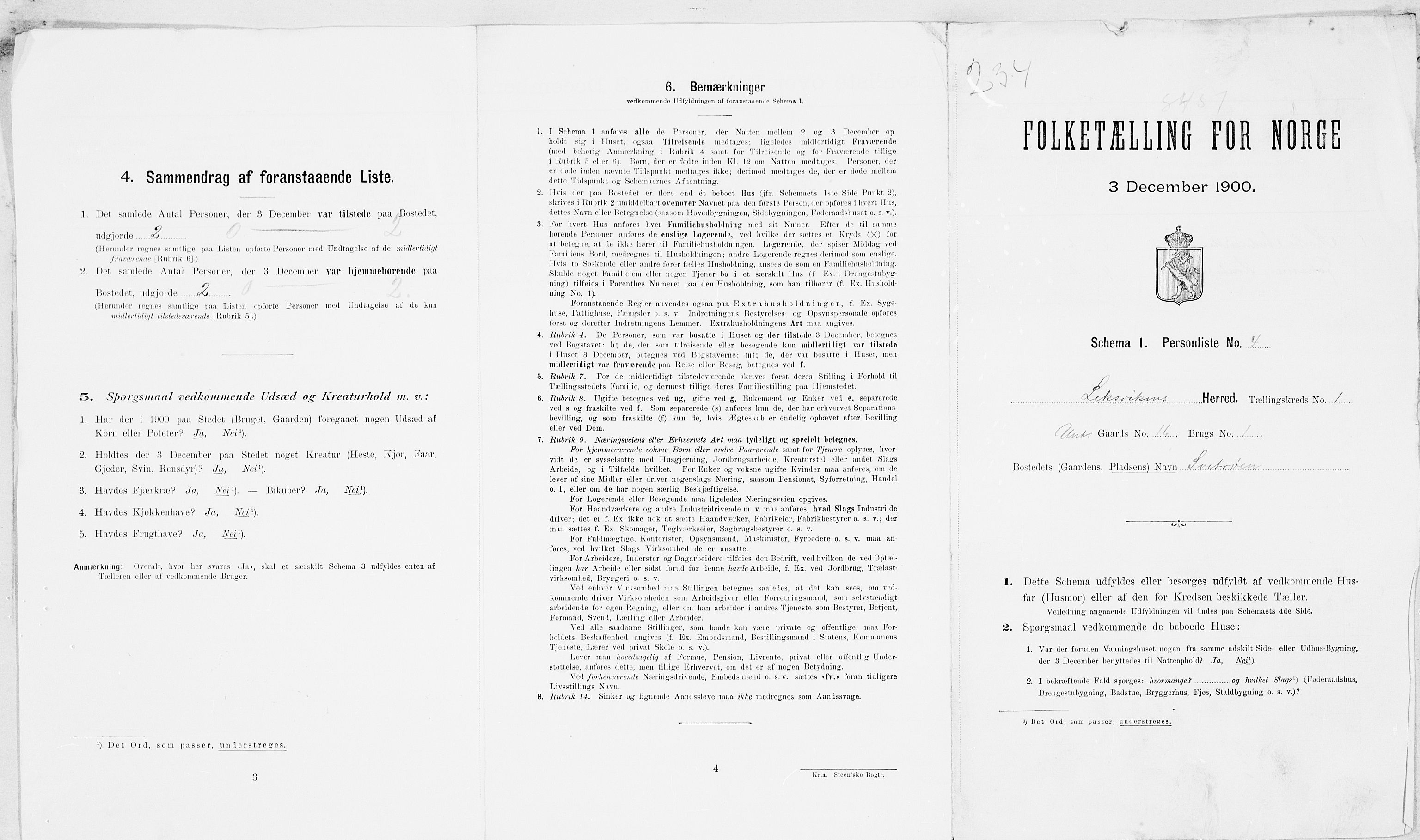 SAT, Folketelling 1900 for 1718 Leksvik herred, 1900, s. 22