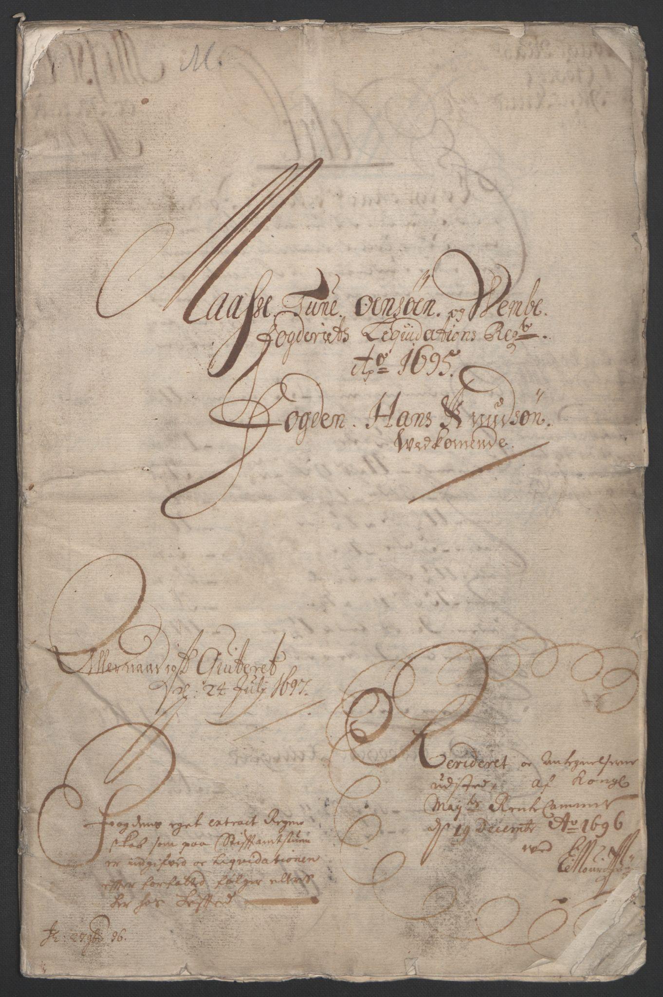 RA, Rentekammeret inntil 1814, Reviderte regnskaper, Fogderegnskap, R04/L0122: Fogderegnskap Moss, Onsøy, Tune, Veme og Åbygge, 1695, s. 4