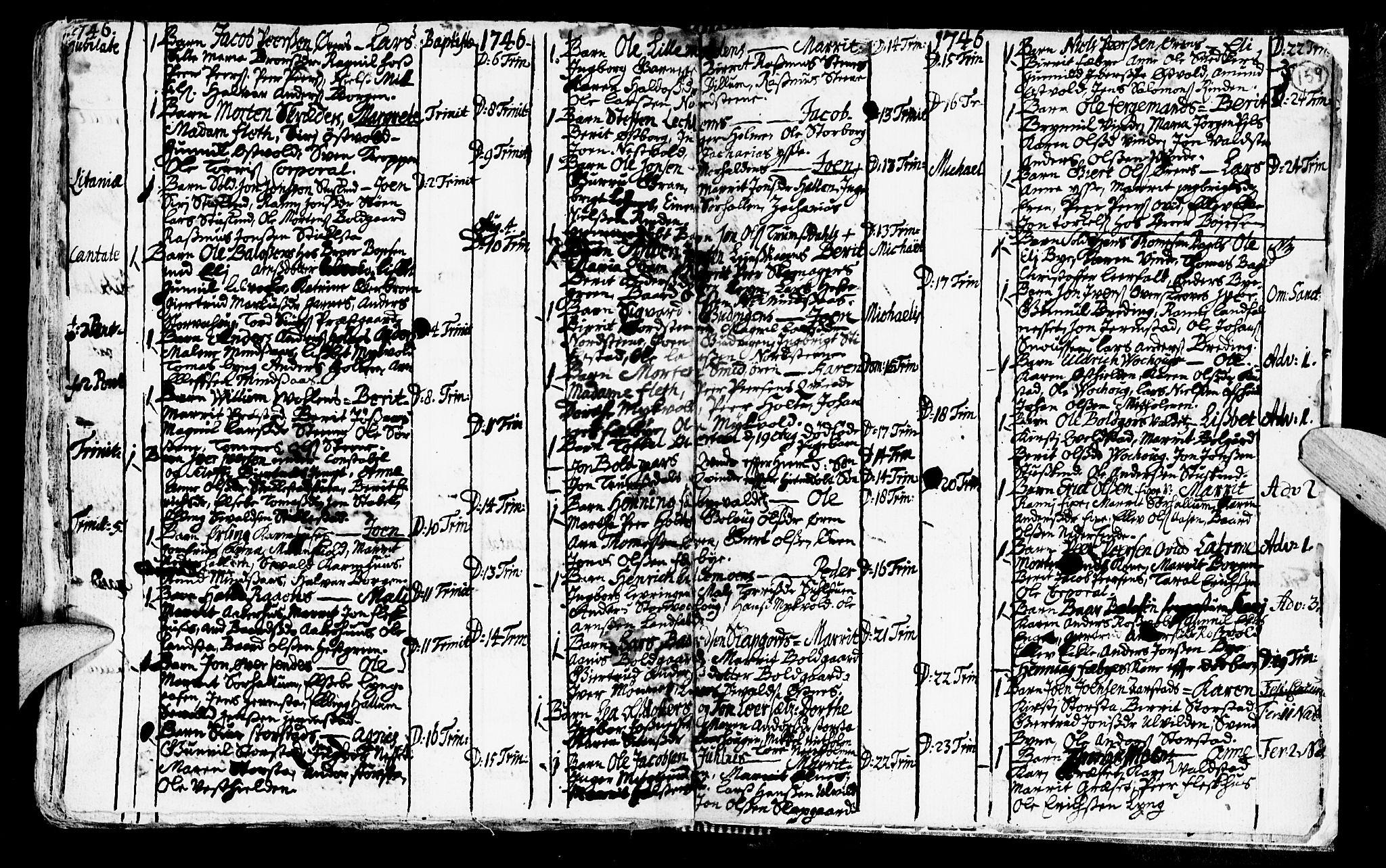 SAT, Ministerialprotokoller, klokkerbøker og fødselsregistre - Nord-Trøndelag, 723/L0230: Ministerialbok nr. 723A01, 1705-1747, s. 159