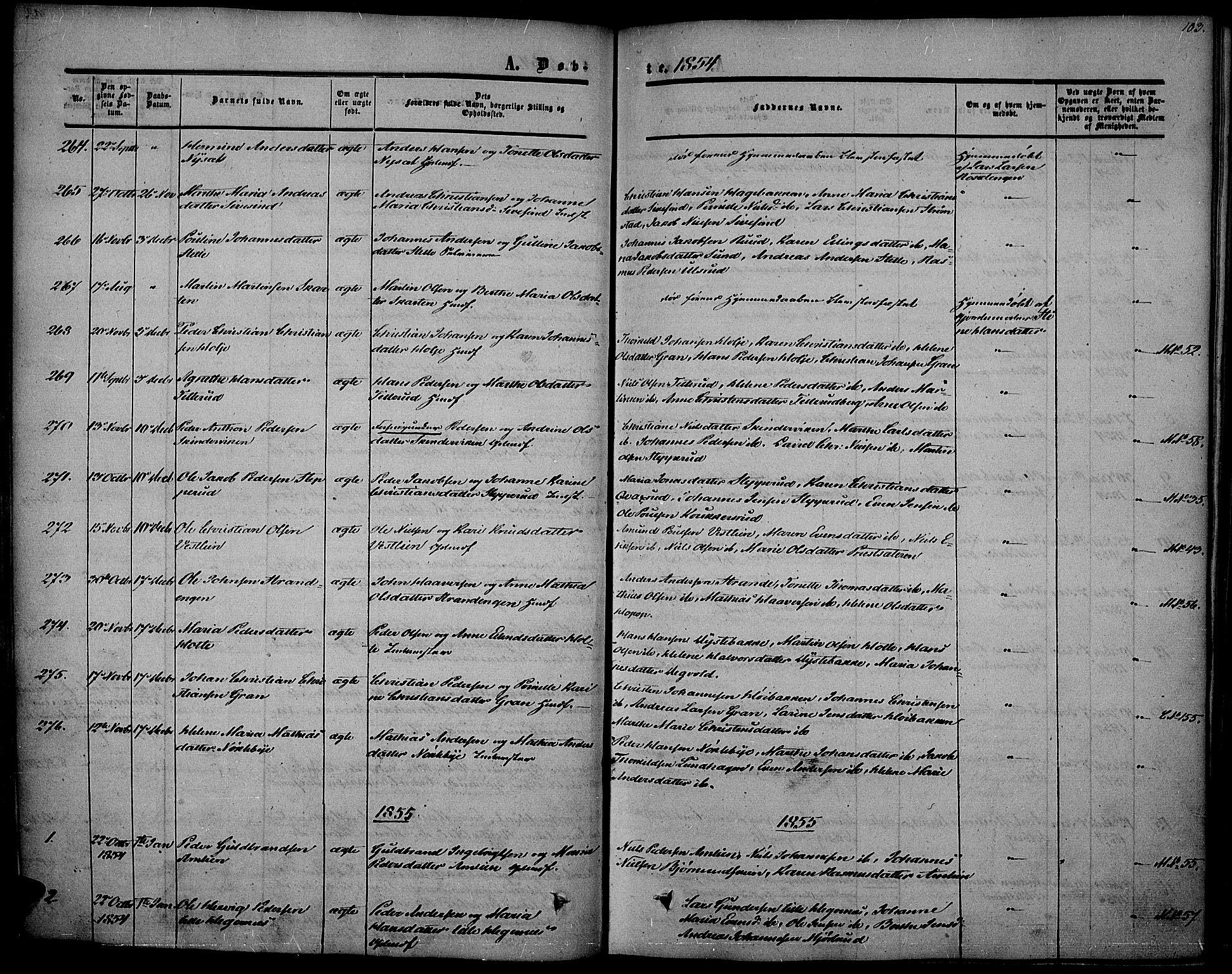 SAH, Vestre Toten prestekontor, Ministerialbok nr. 5, 1850-1855, s. 103