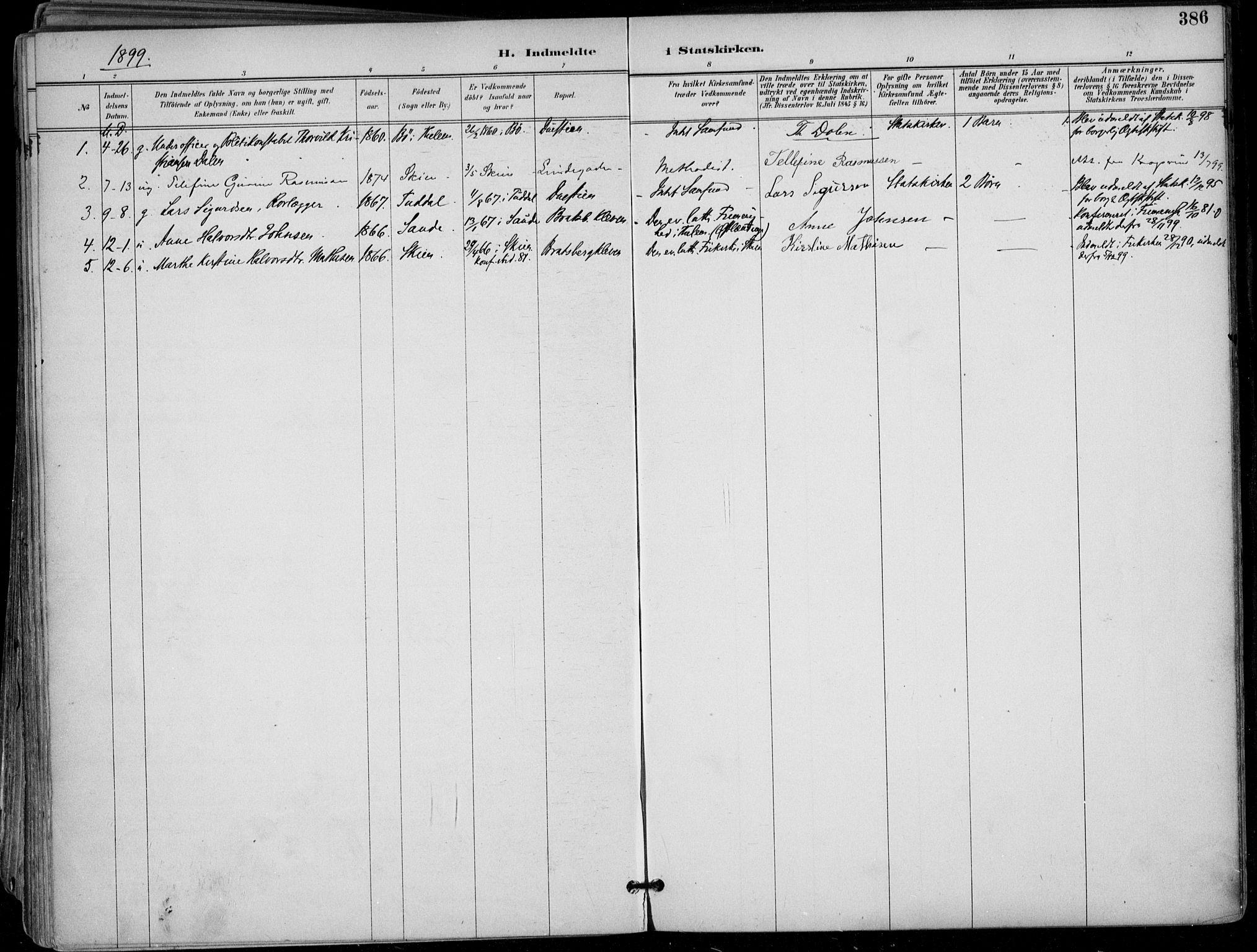 SAKO, Skien kirkebøker, F/Fa/L0010: Ministerialbok nr. 10, 1891-1899, s. 386
