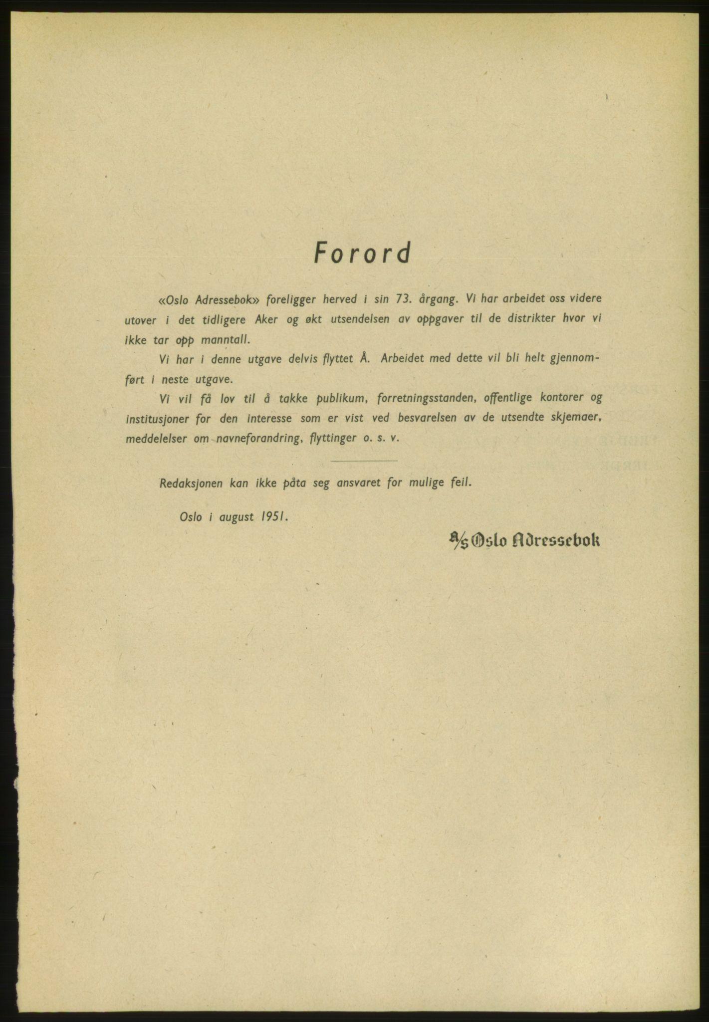 PUBL, Kristiania/Oslo adressebok, 1951