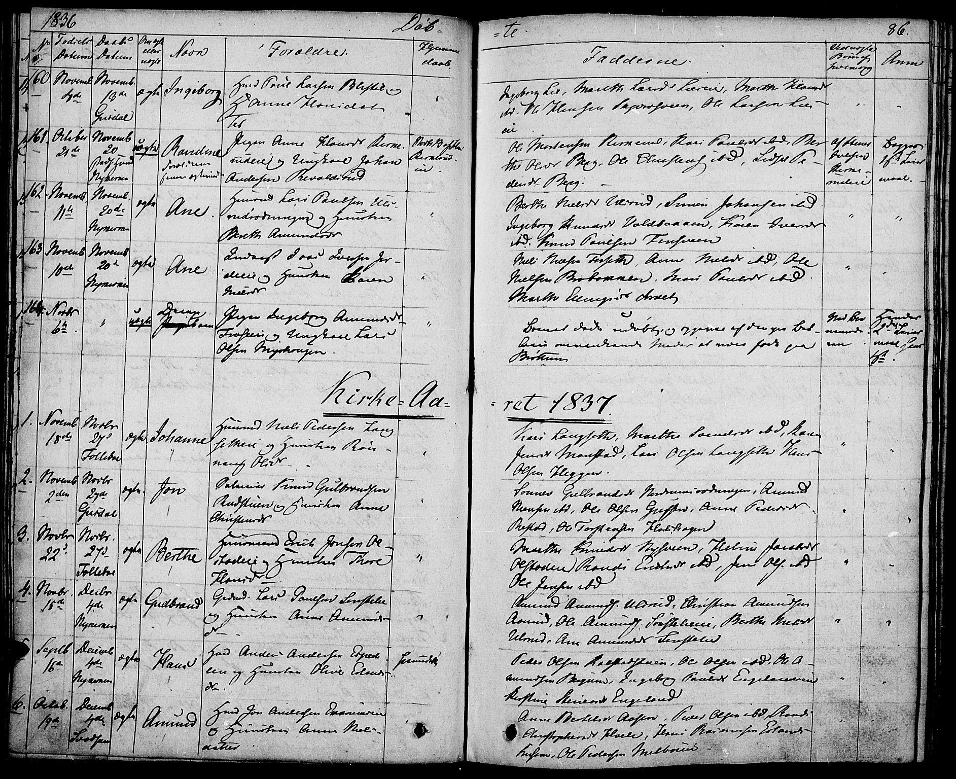 SAH, Gausdal prestekontor, Ministerialbok nr. 6, 1830-1839, s. 86