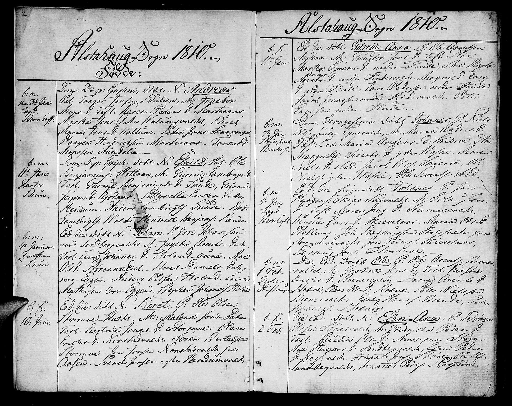 SAT, Ministerialprotokoller, klokkerbøker og fødselsregistre - Nord-Trøndelag, 717/L0145: Ministerialbok nr. 717A03 /1, 1810-1815, s. 2-3