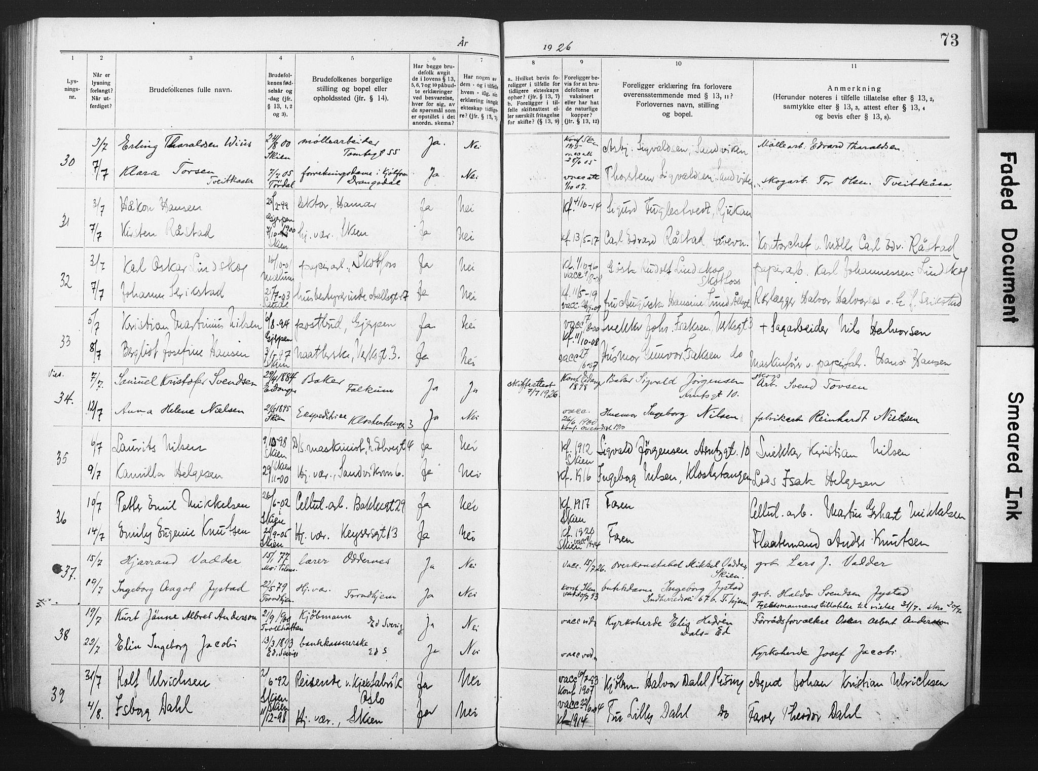 SAKO, Skien kirkebøker, H/Ha/L0001: Lysningsprotokoll nr. 1, 1919-1929, s. 73