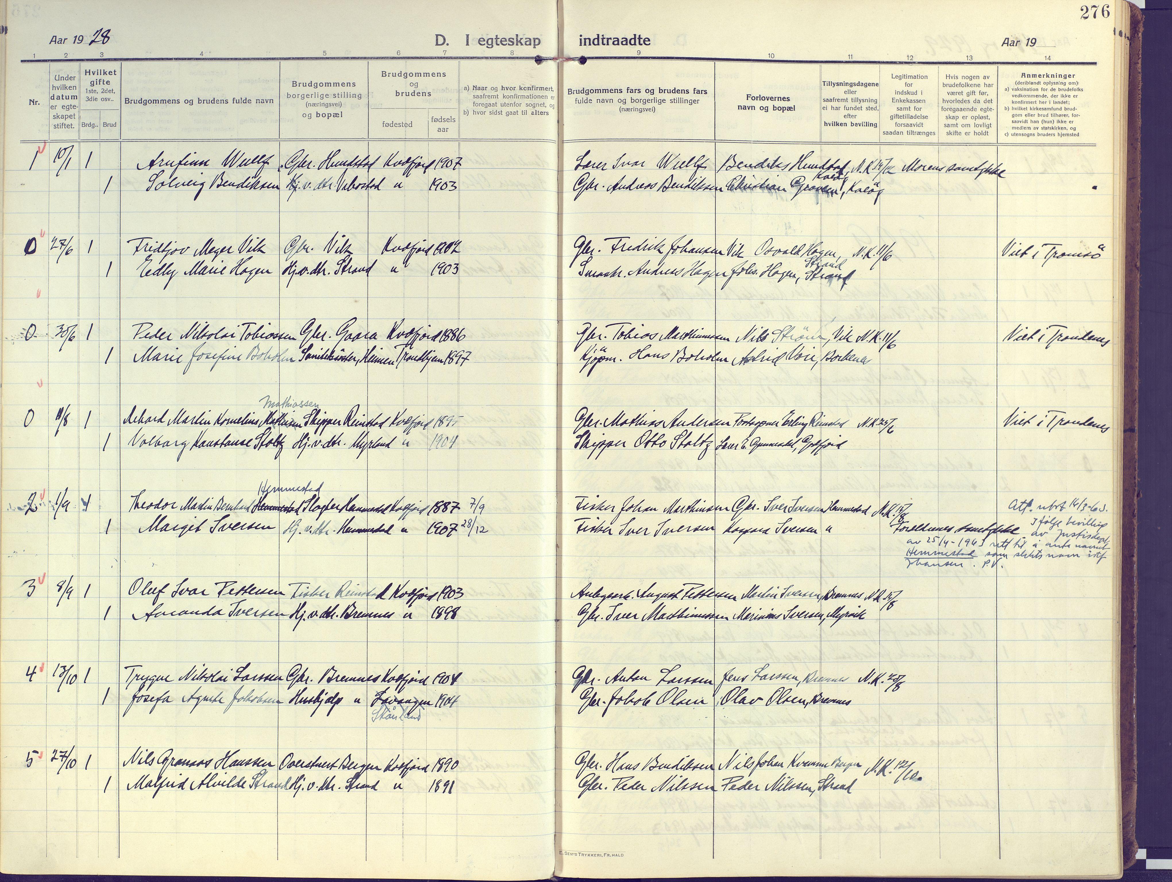 SATØ, Kvæfjord sokneprestkontor, G/Ga/Gaa/L0007kirke: Ministerialbok nr. 7, 1915-1931, s. 276