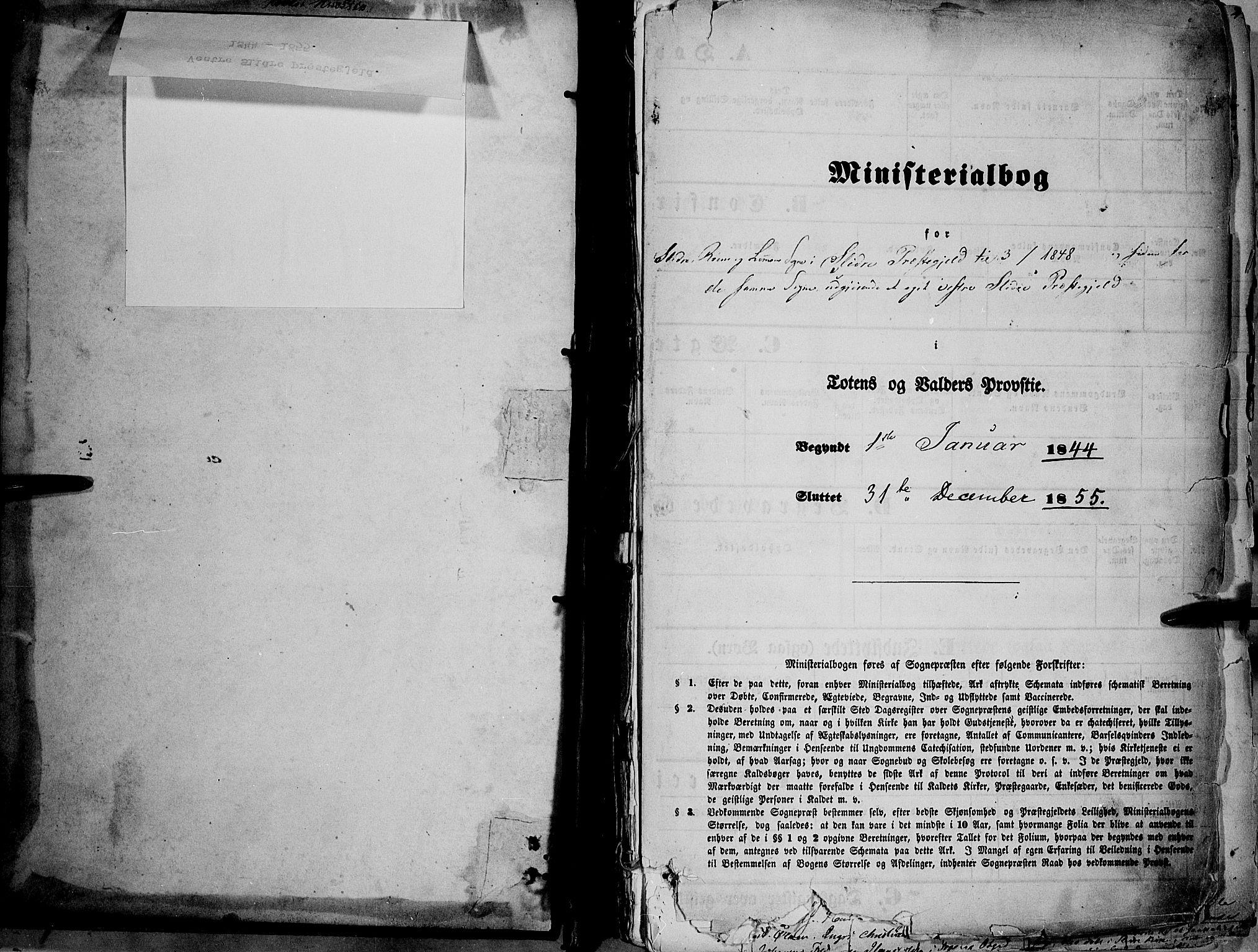 SAH, Vestre Slidre prestekontor, Ministerialbok nr. 1, 1844-1855