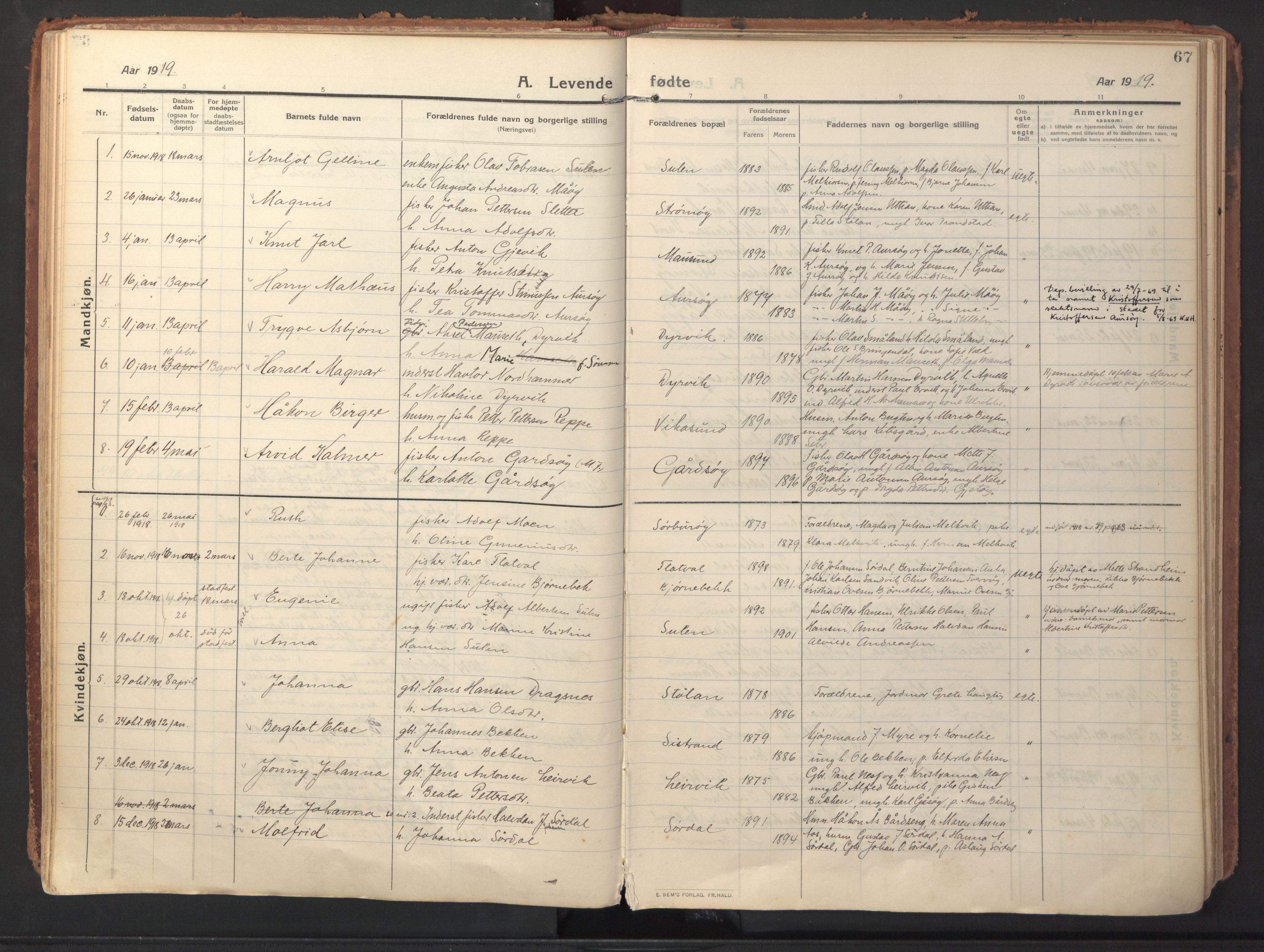SAT, Ministerialprotokoller, klokkerbøker og fødselsregistre - Sør-Trøndelag, 640/L0581: Ministerialbok nr. 640A06, 1910-1924, s. 67