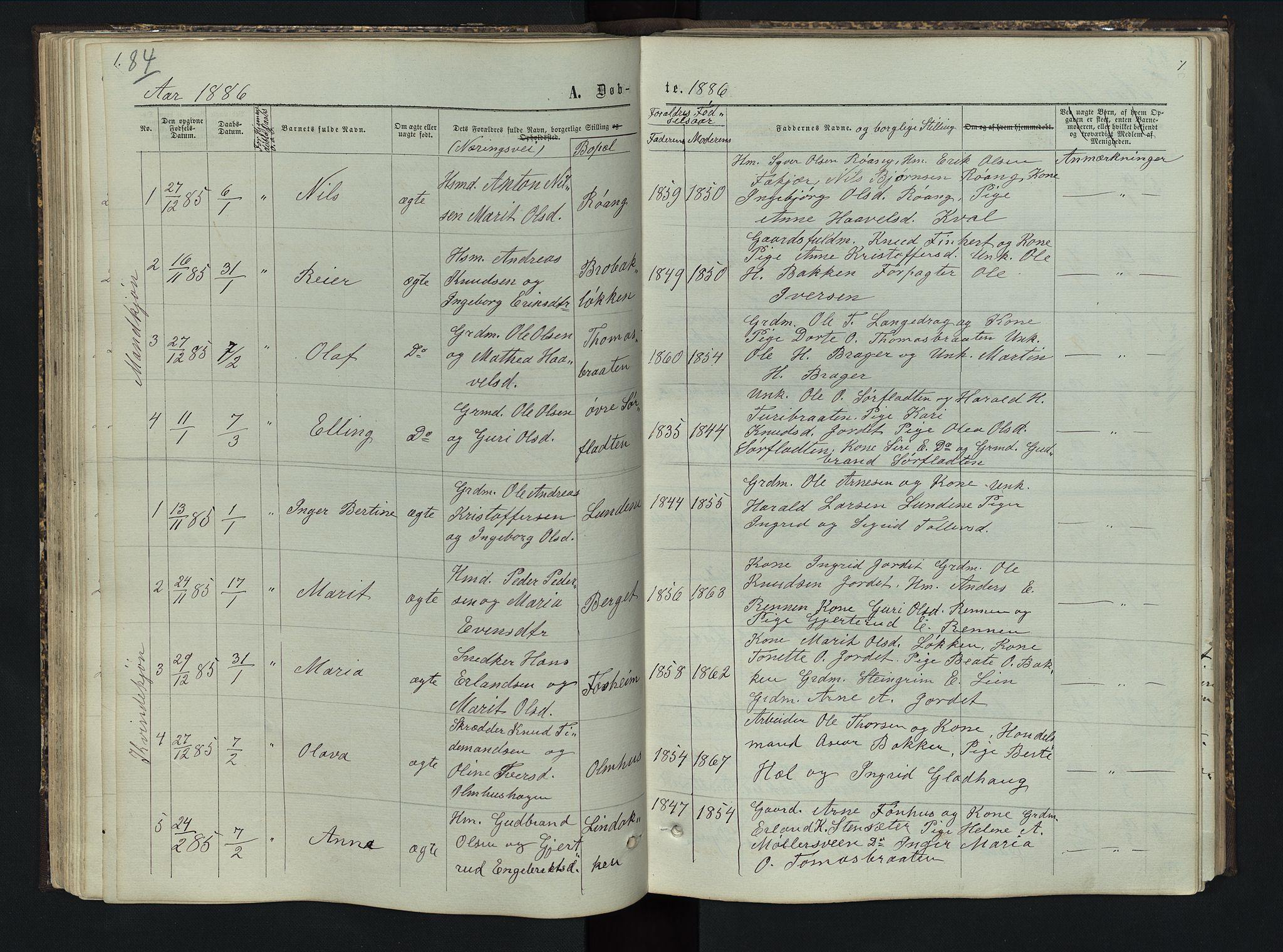 SAH, Sør-Aurdal prestekontor, Klokkerbok nr. 5, 1866-1893, s. 84