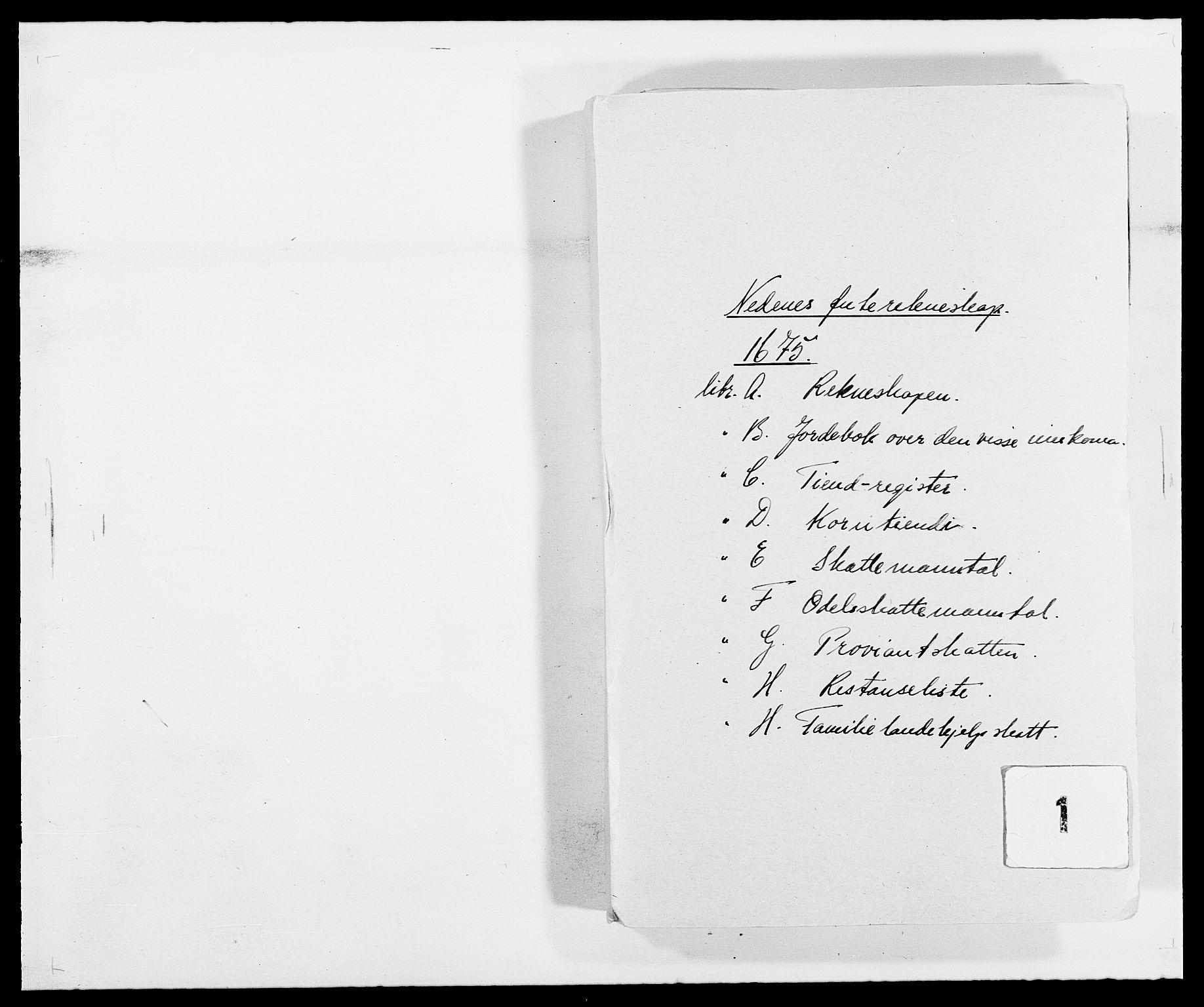 RA, Rentekammeret inntil 1814, Reviderte regnskaper, Fogderegnskap, R39/L2301: Fogderegnskap Nedenes, 1675-1676, s. 1