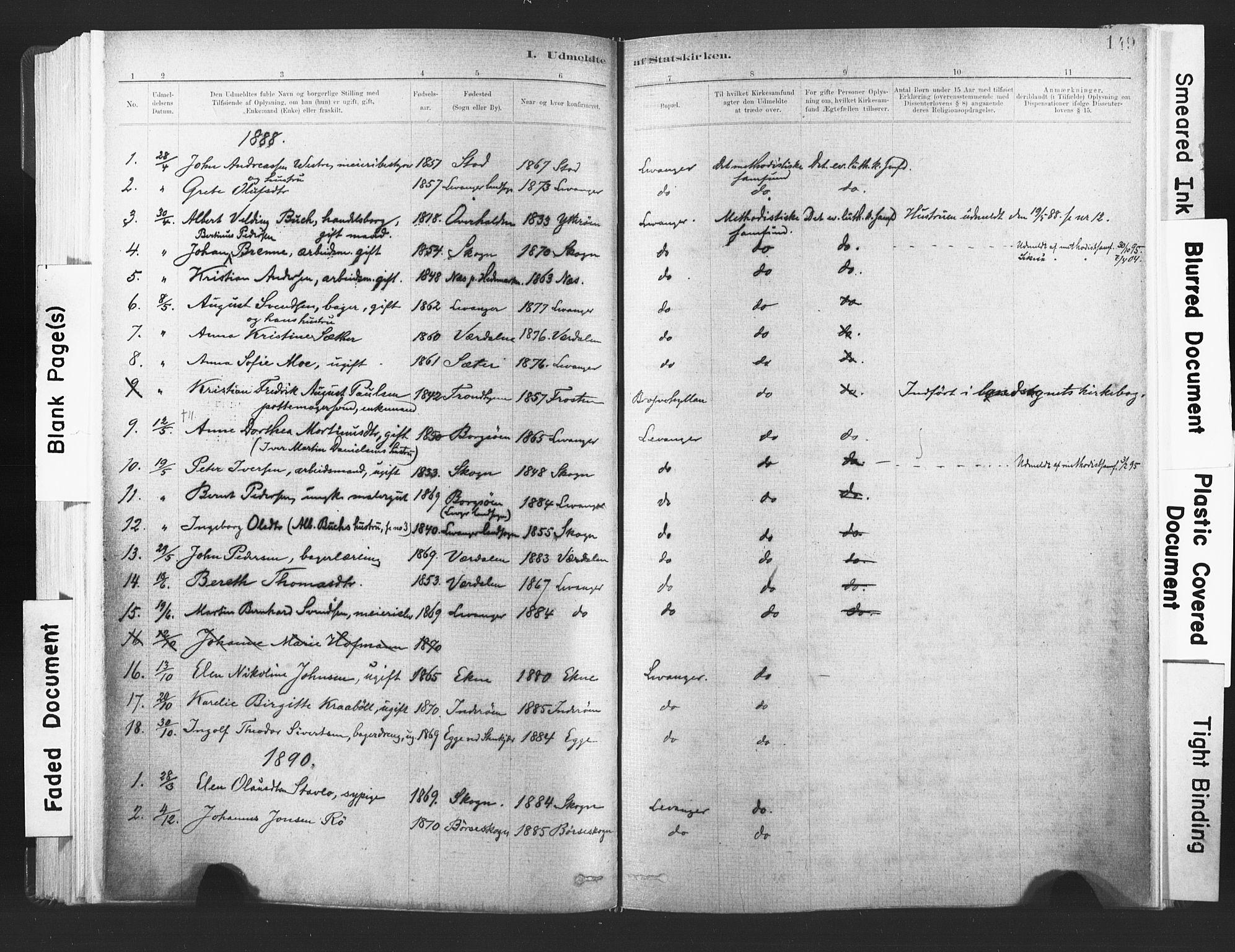 SAT, Ministerialprotokoller, klokkerbøker og fødselsregistre - Nord-Trøndelag, 720/L0189: Ministerialbok nr. 720A05, 1880-1911, s. 149