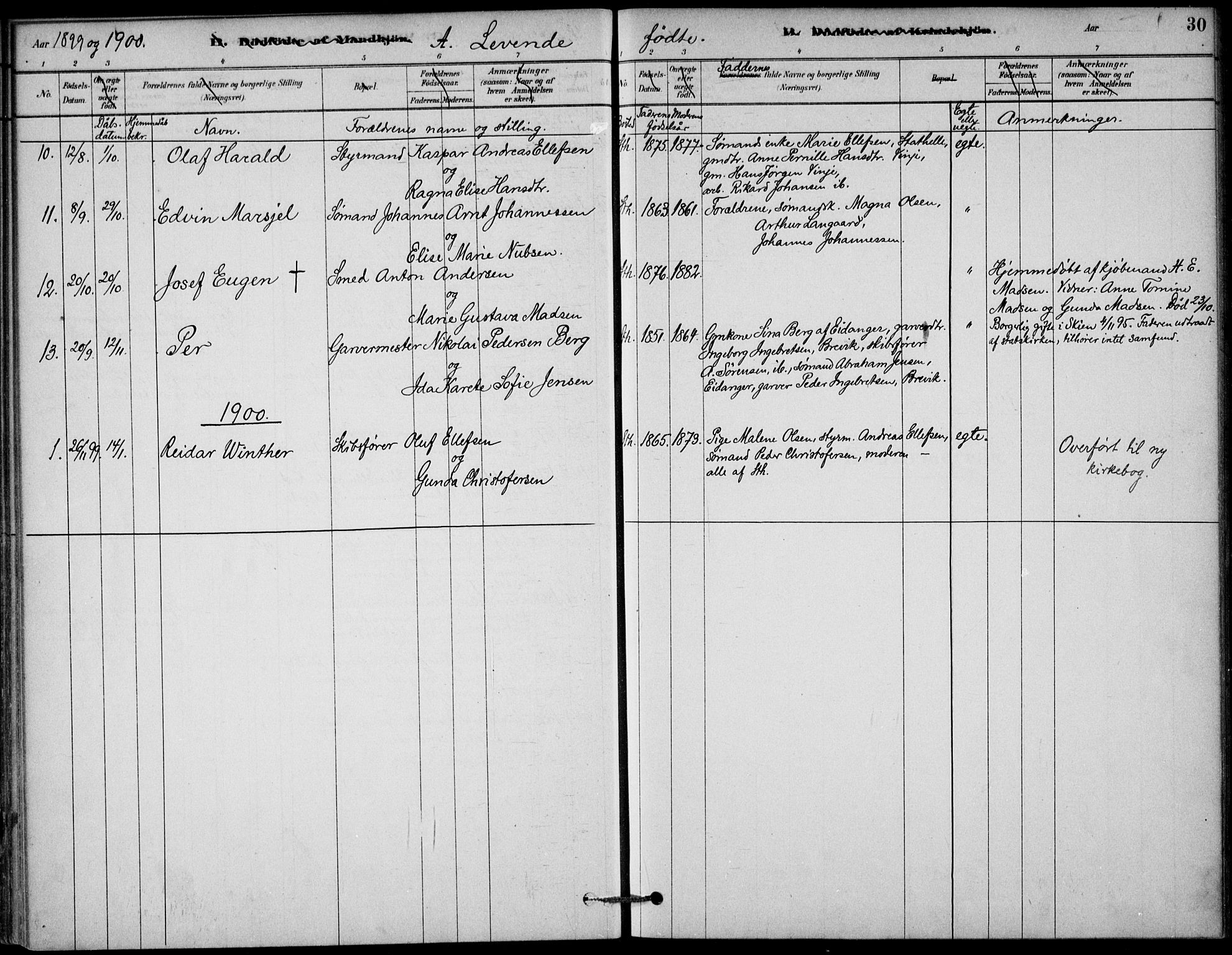 SAKO, Bamble kirkebøker, G/Gb/L0001: Klokkerbok nr. II 1, 1878-1900, s. 30