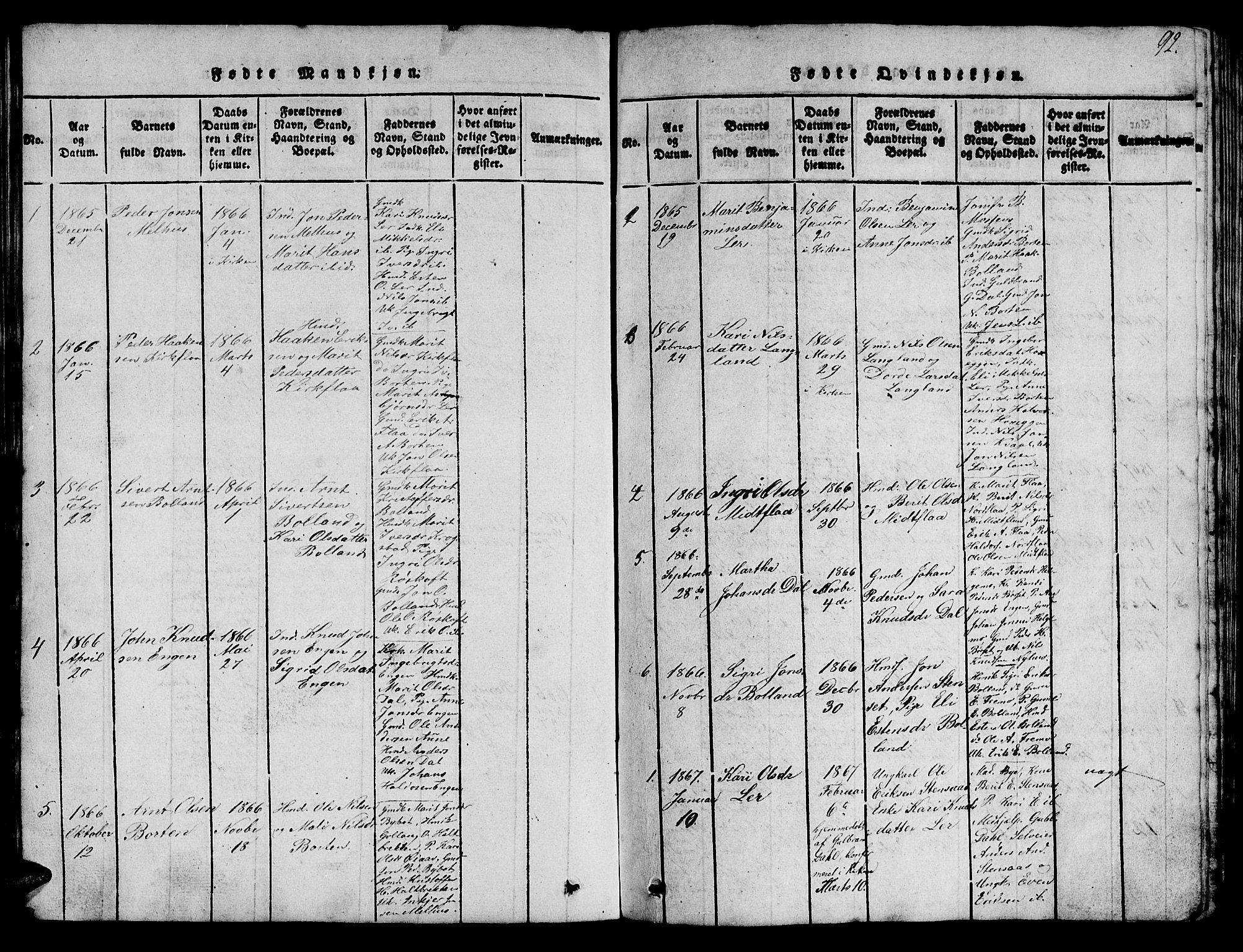 SAT, Ministerialprotokoller, klokkerbøker og fødselsregistre - Sør-Trøndelag, 693/L1121: Klokkerbok nr. 693C02, 1816-1869, s. 92