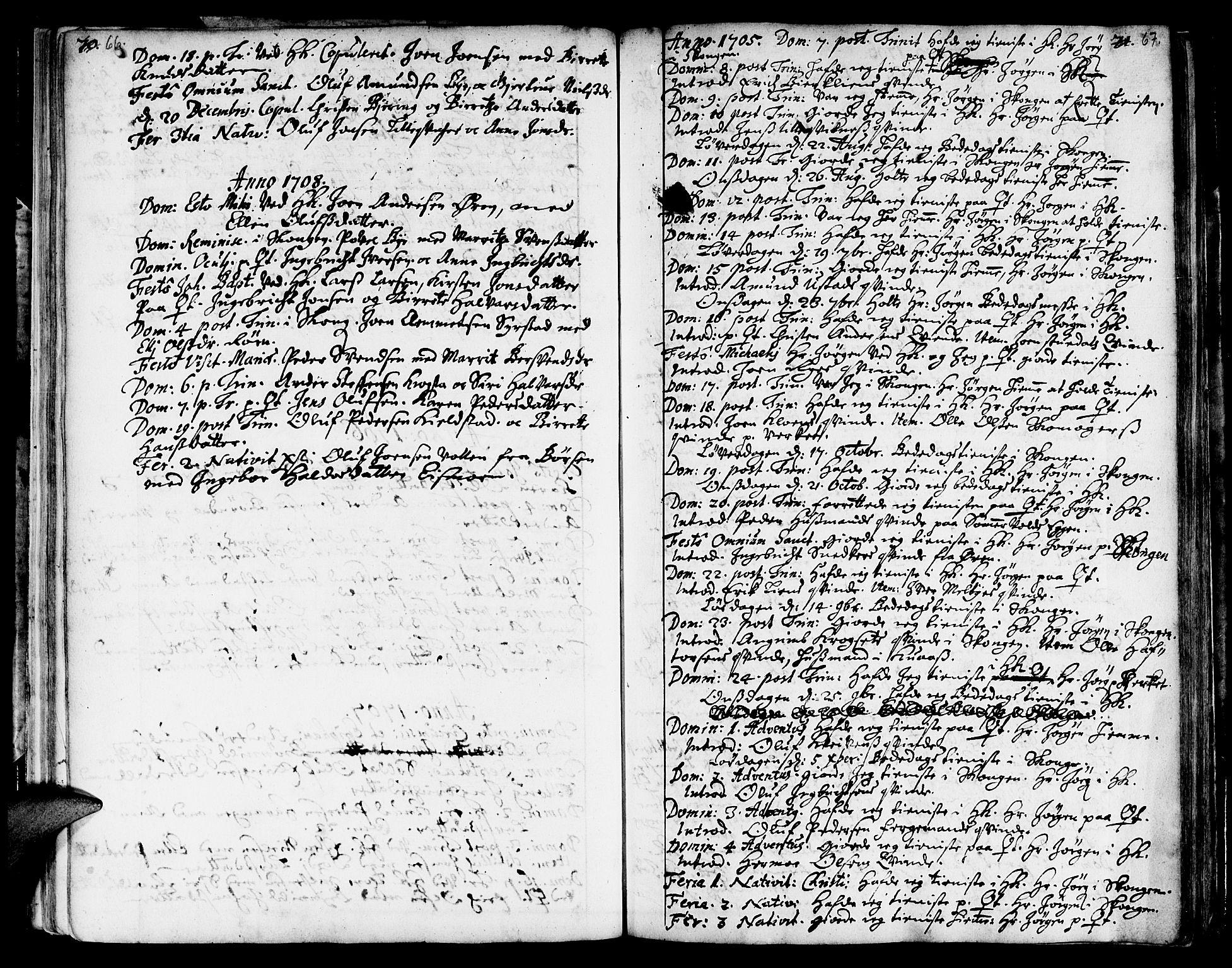 SAT, Ministerialprotokoller, klokkerbøker og fødselsregistre - Sør-Trøndelag, 668/L0801: Ministerialbok nr. 668A01, 1695-1716, s. 66-67