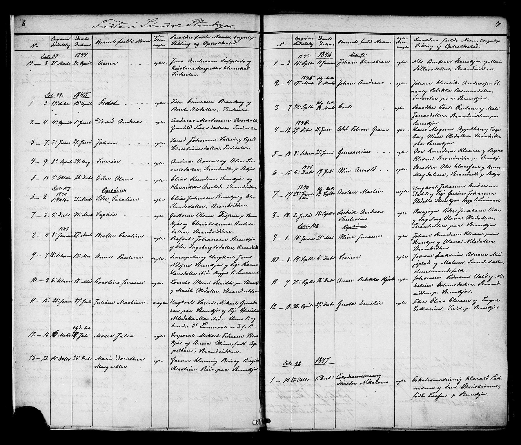 SAT, Ministerialprotokoller, klokkerbøker og fødselsregistre - Nord-Trøndelag, 739/L0367: Ministerialbok nr. 739A01 /1, 1838-1868, s. 6-7