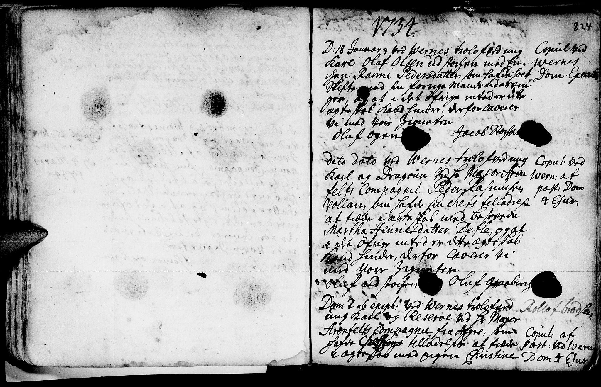 SAT, Ministerialprotokoller, klokkerbøker og fødselsregistre - Nord-Trøndelag, 709/L0055: Ministerialbok nr. 709A03, 1730-1739, s. 823-824
