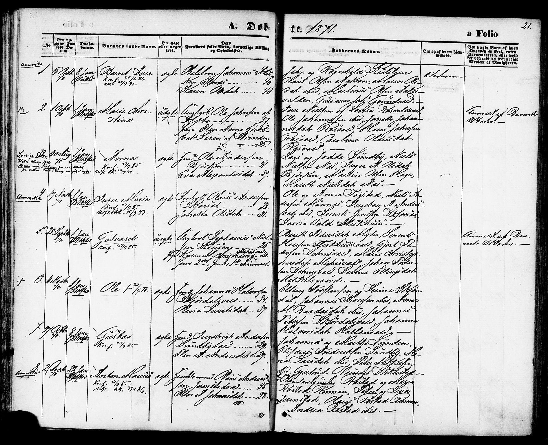 SAT, Ministerialprotokoller, klokkerbøker og fødselsregistre - Nord-Trøndelag, 723/L0242: Ministerialbok nr. 723A11, 1870-1880, s. 21