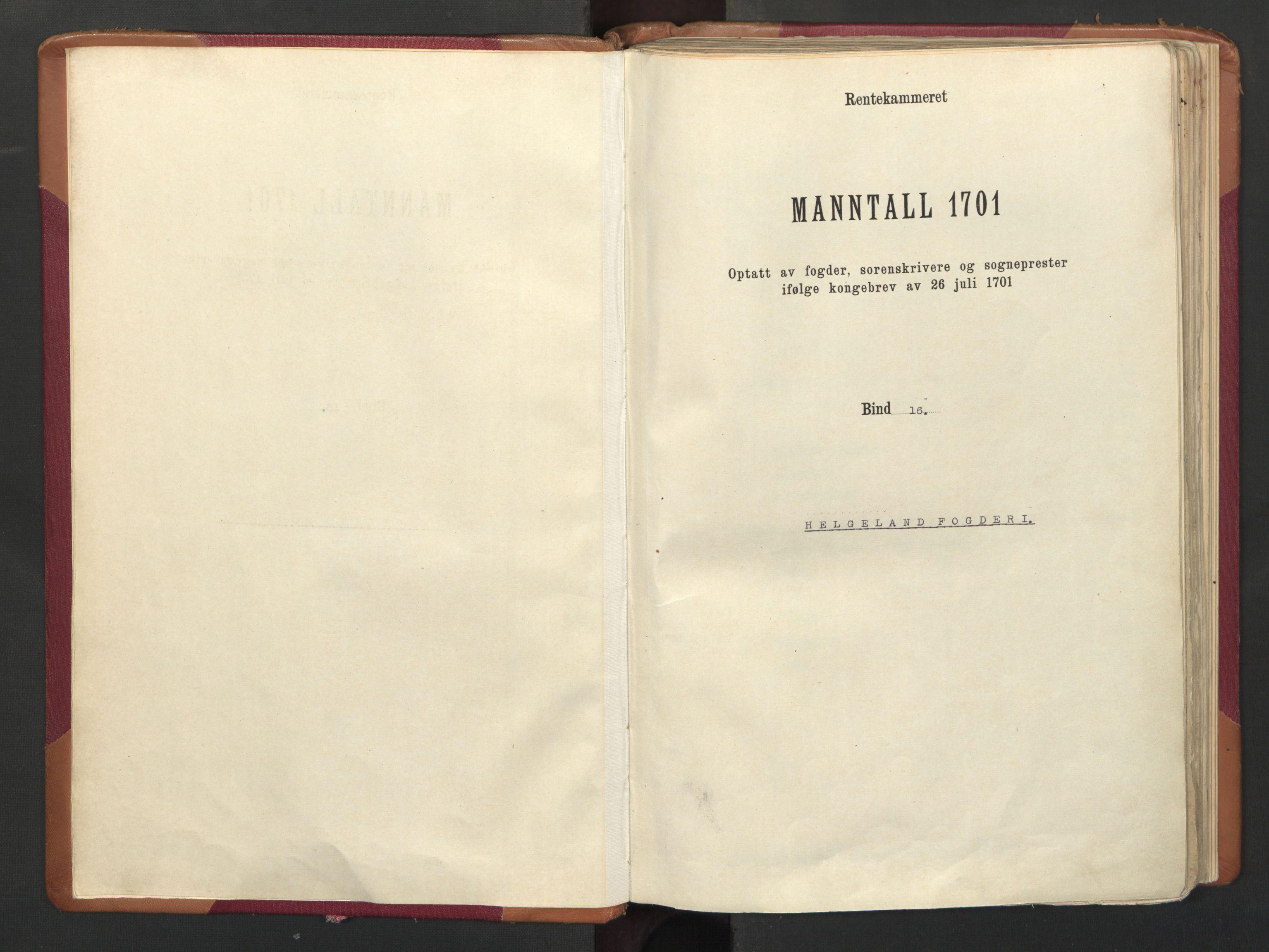 RA, Manntallet 1701, nr. 16: Helgeland fogderi, 1701
