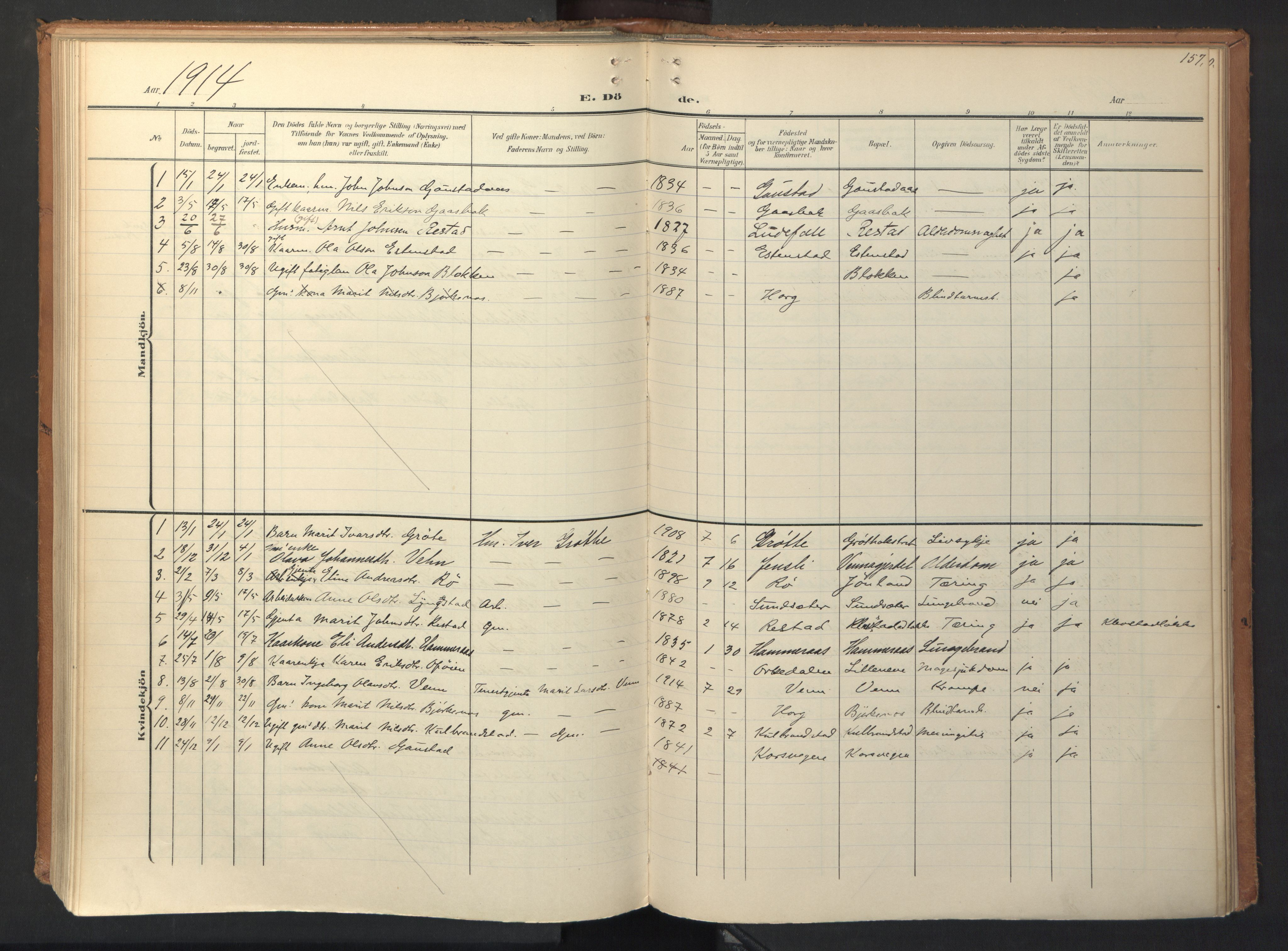 SAT, Ministerialprotokoller, klokkerbøker og fødselsregistre - Sør-Trøndelag, 694/L1128: Ministerialbok nr. 694A02, 1906-1931, s. 157