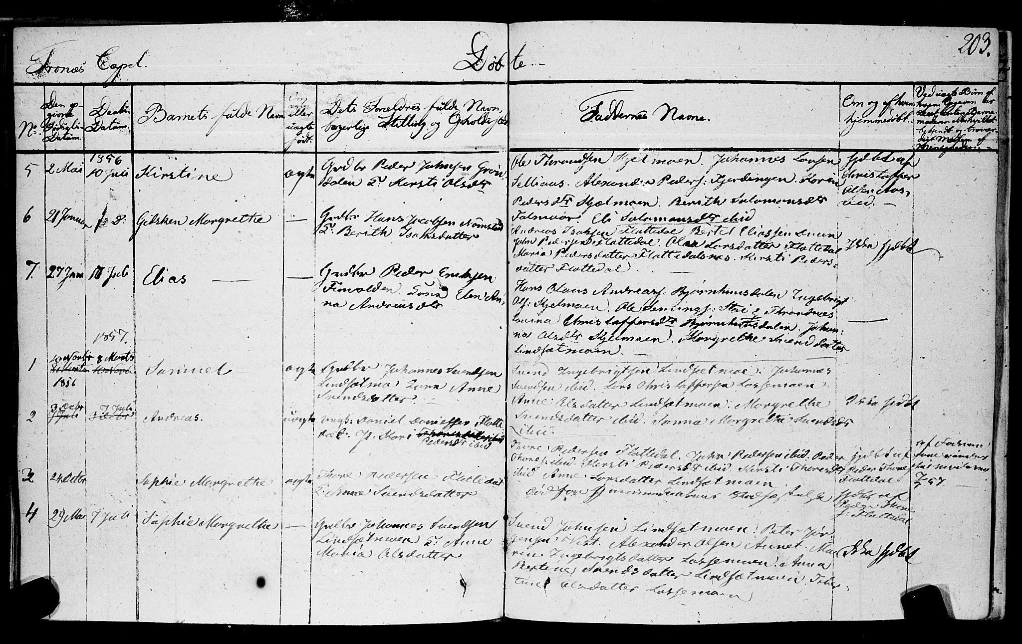 SAT, Ministerialprotokoller, klokkerbøker og fødselsregistre - Nord-Trøndelag, 762/L0538: Ministerialbok nr. 762A02 /2, 1833-1879, s. 203