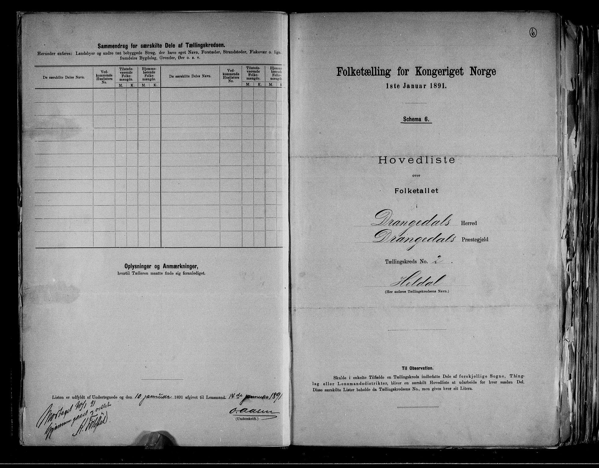 RA, Folketelling 1891 for 0817 Drangedal herred, 1891, s. 6